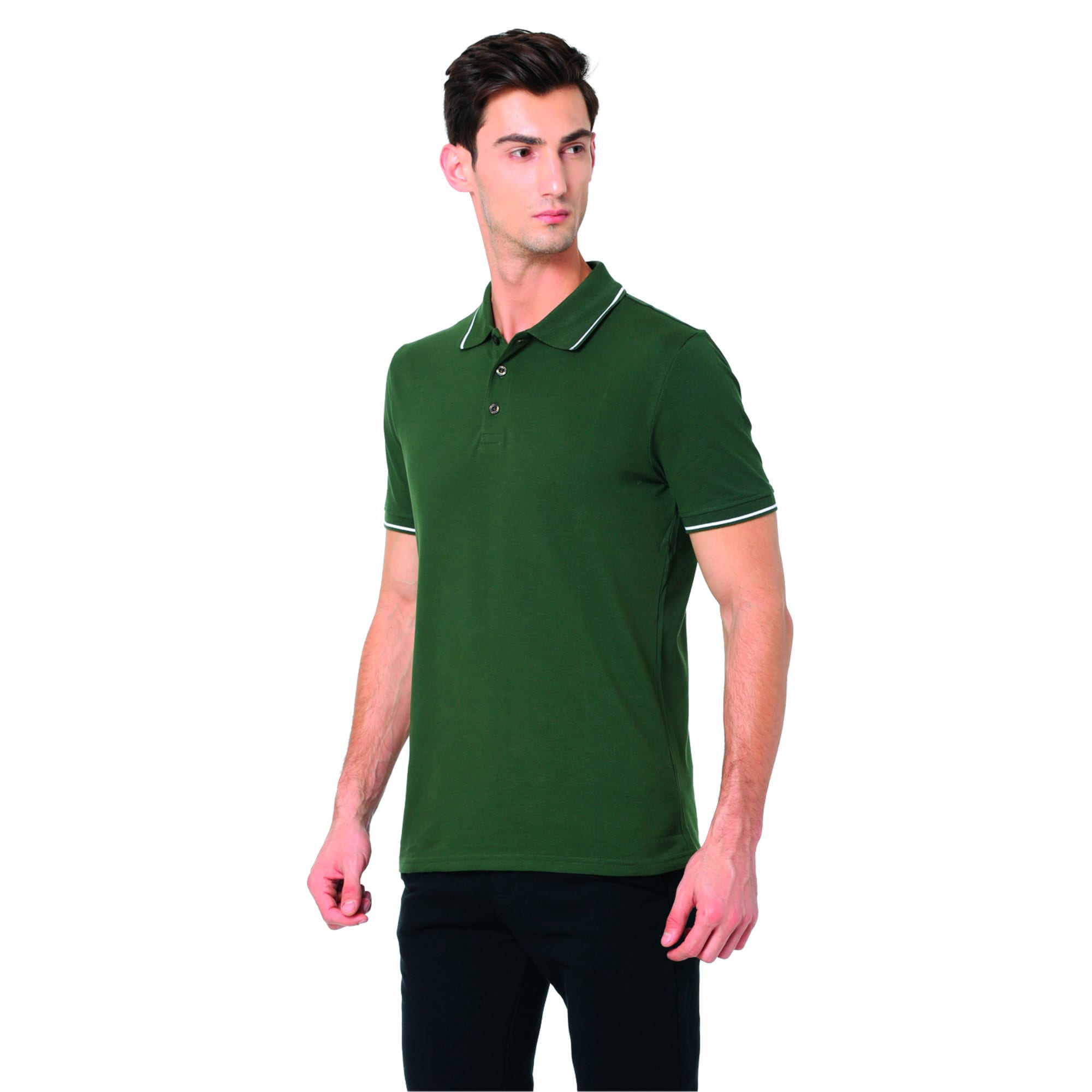 Thumbnail 2 of Men s ESS Tipping Polo, olive night-white, medium-IND
