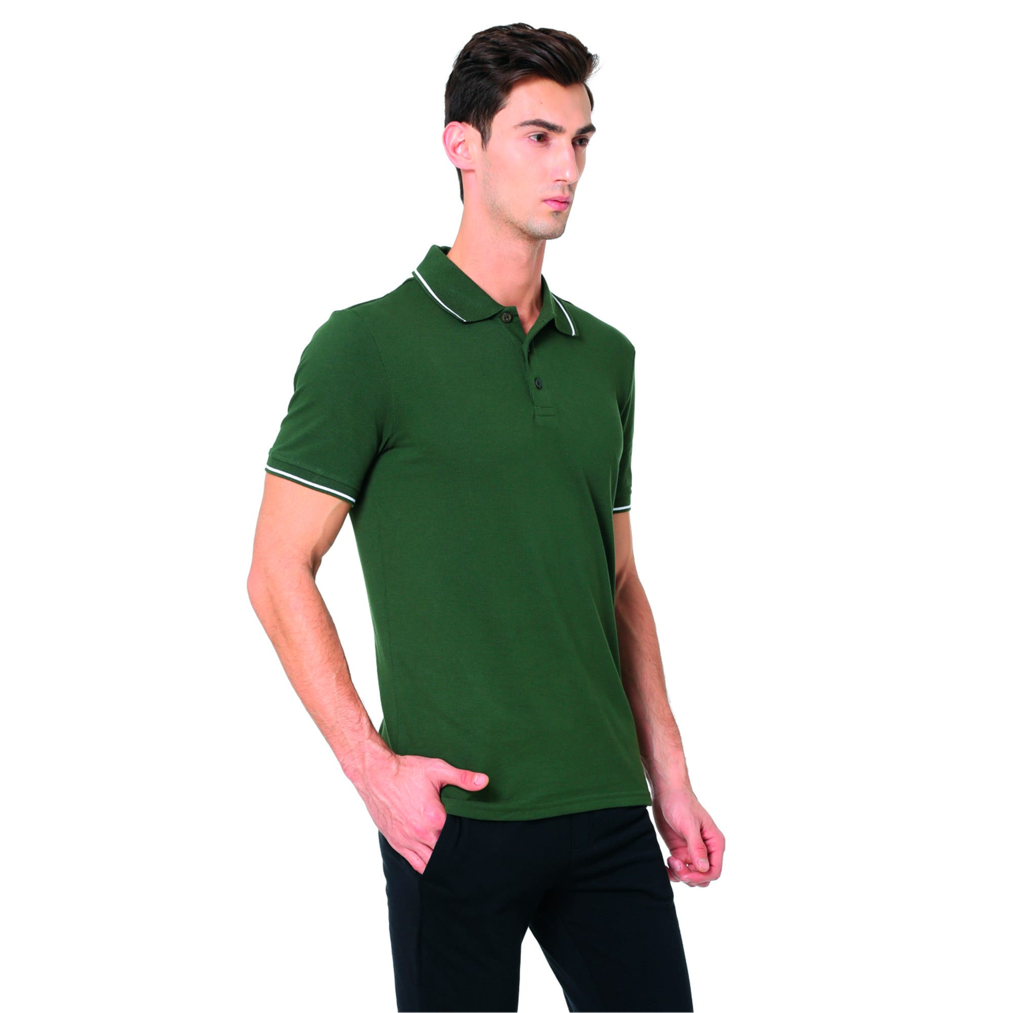 Thumbnail 3 of Men s ESS Tipping Polo, olive night-white, medium-IND