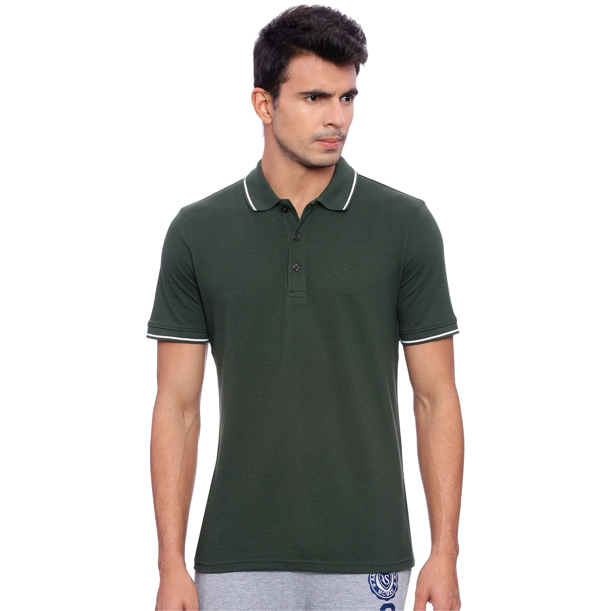 Thumbnail 3 of Men s ESS Tipping Polo, Olive Night, medium-IND