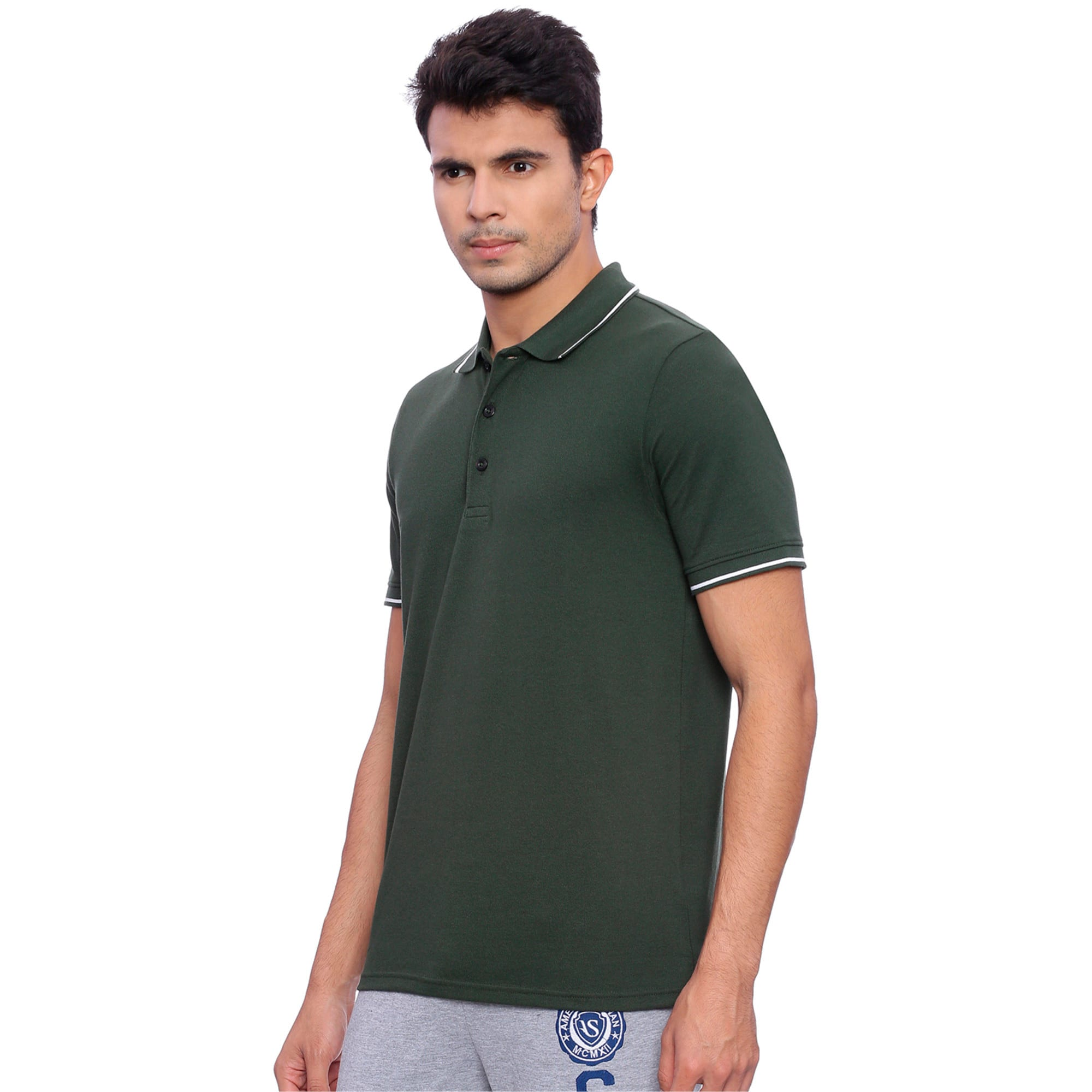 Thumbnail 2 of Men s ESS Tipping Polo, Olive Night, medium-IND