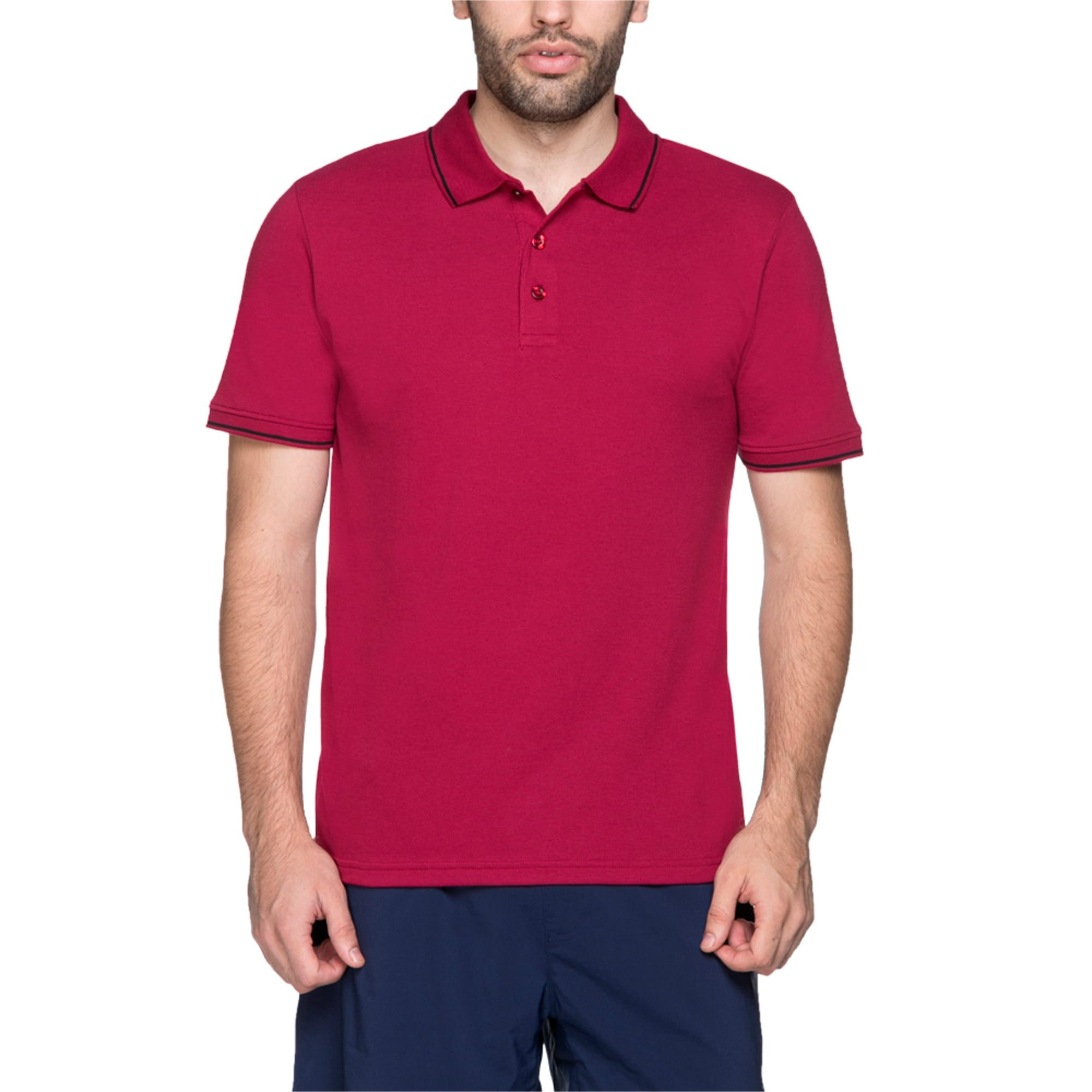Thumbnail 4 of Men s ESS Tipping Polo, beet red, medium-IND