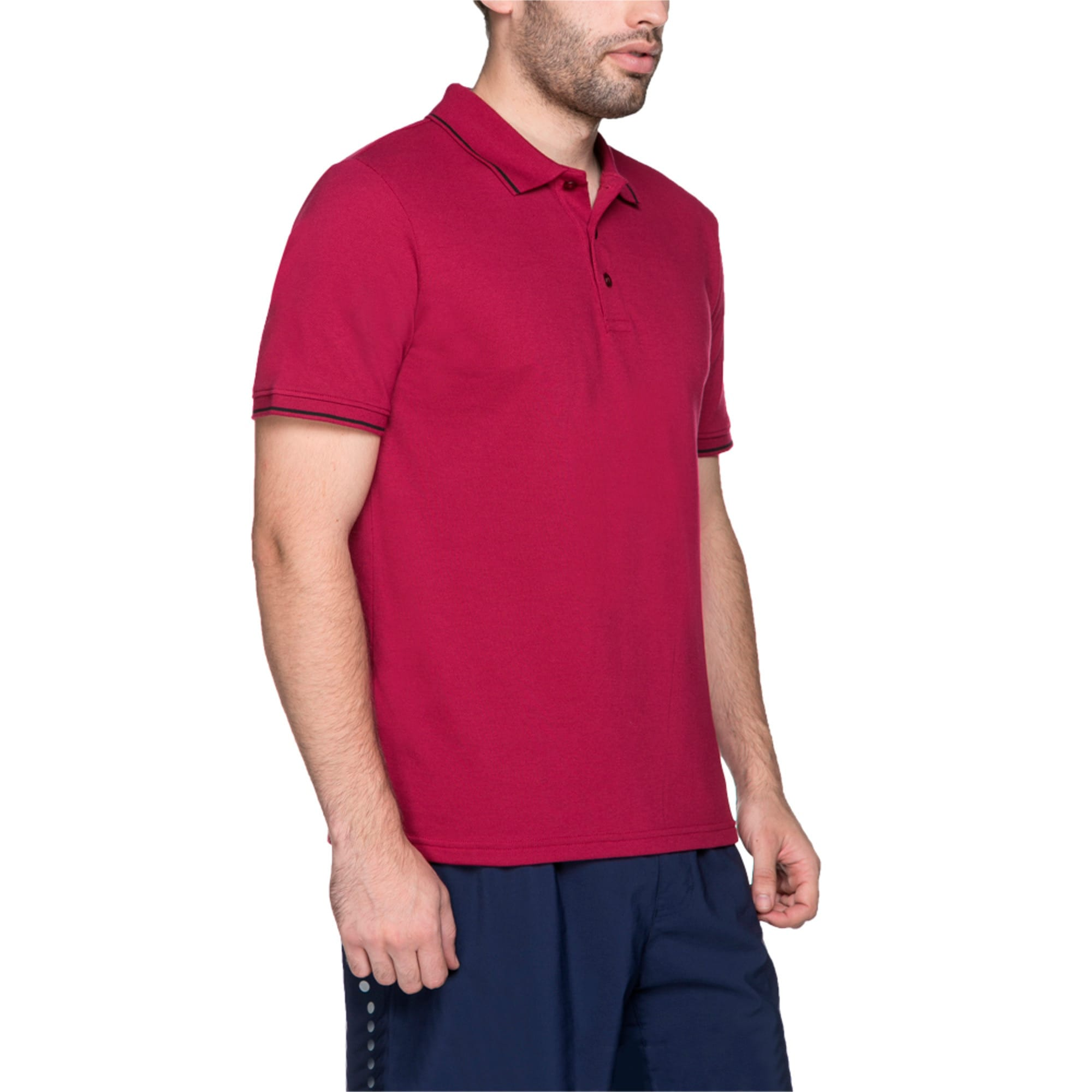 Thumbnail 2 of Men s ESS Tipping Polo, beet red, medium-IND