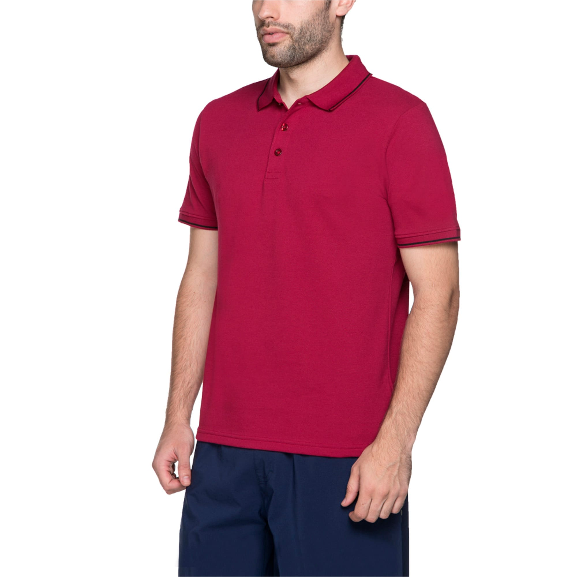Thumbnail 3 of Men s ESS Tipping Polo, beet red, medium-IND
