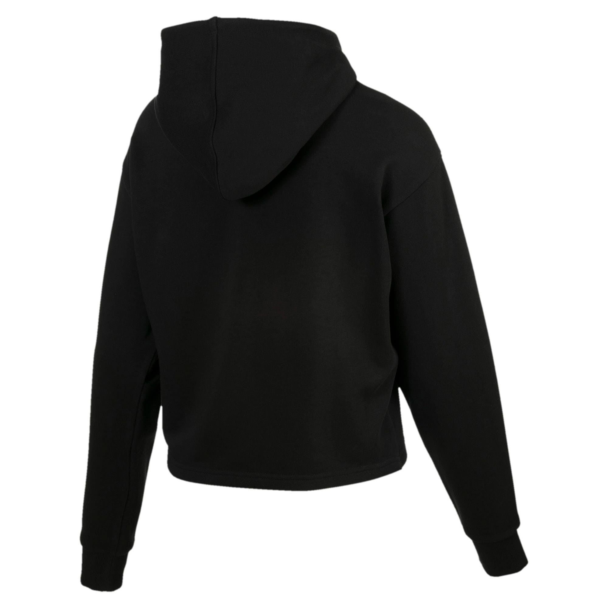 Thumbnail 2 of Essentials+ Logo Women's Cropped Hoodie, Cotton Black, medium