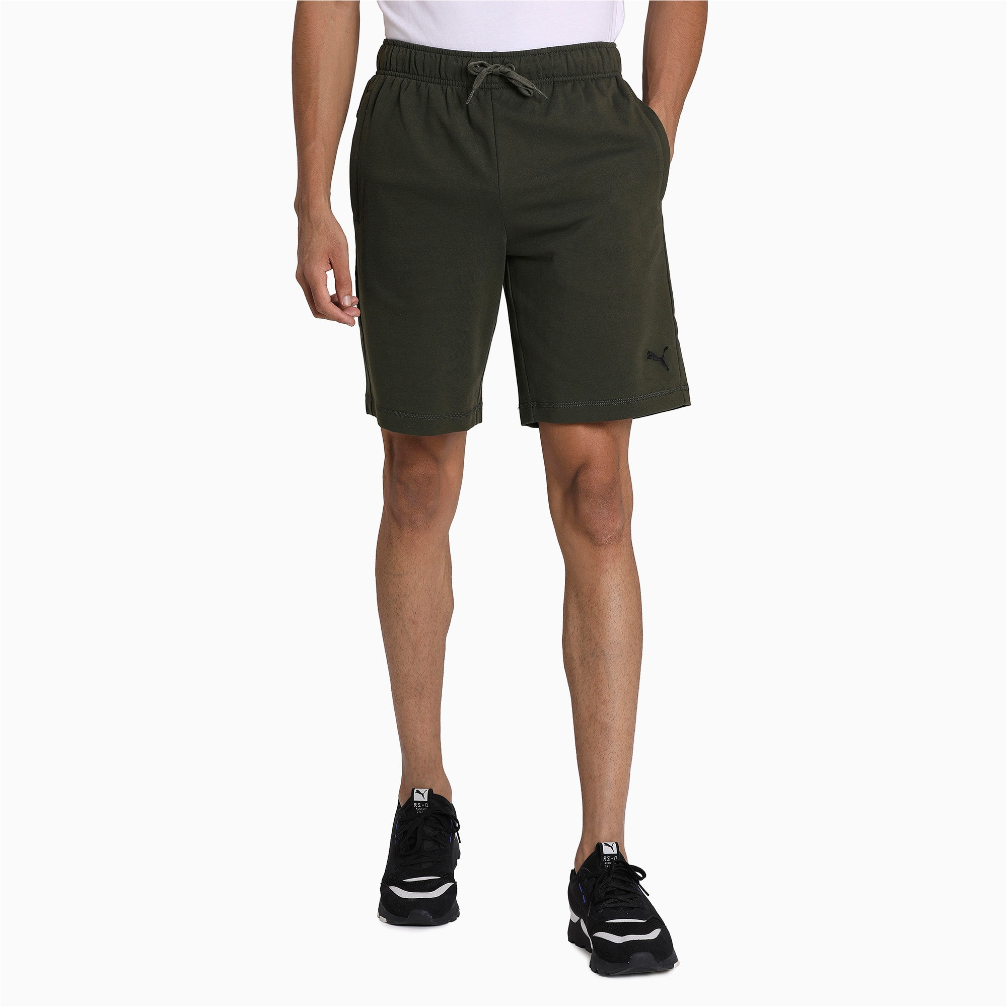 Thumbnail 3 of Zippered Terry Shorts, Forest Night, medium-IND