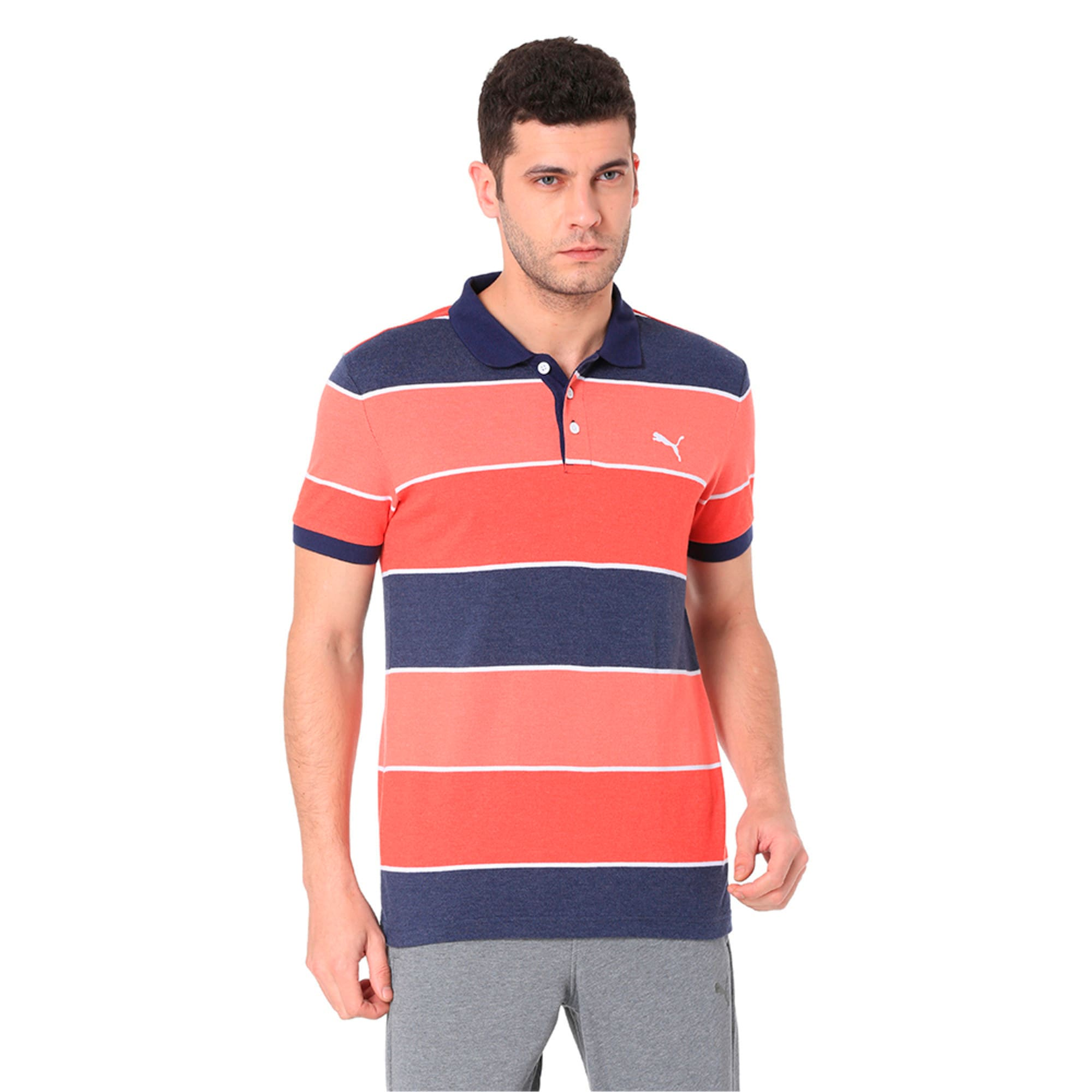 Thumbnail 7 of COLOR BLOCKED POLO M, Flame Scarlet Heather, medium-IND