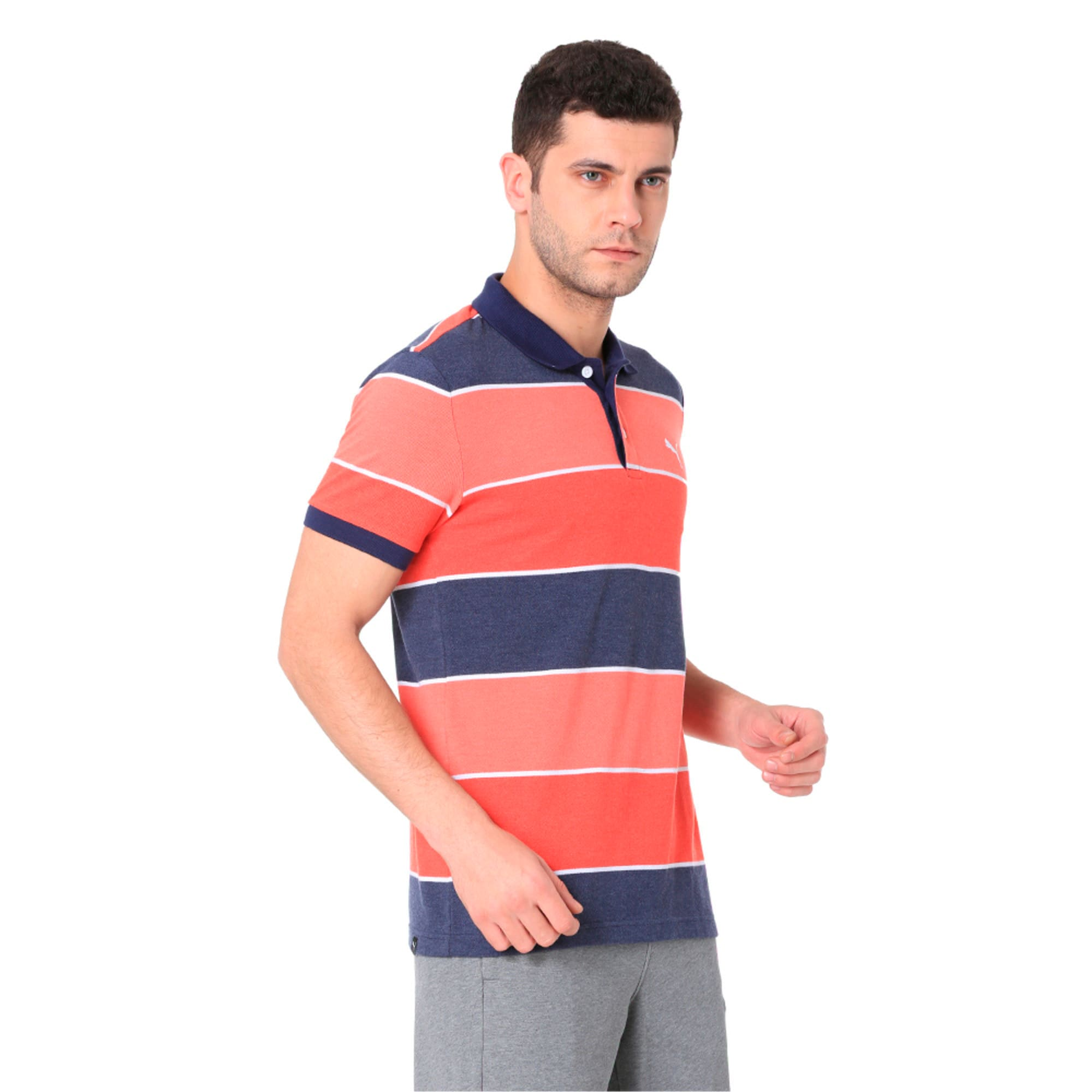 Thumbnail 2 of COLOR BLOCKED POLO M, Flame Scarlet Heather, medium-IND
