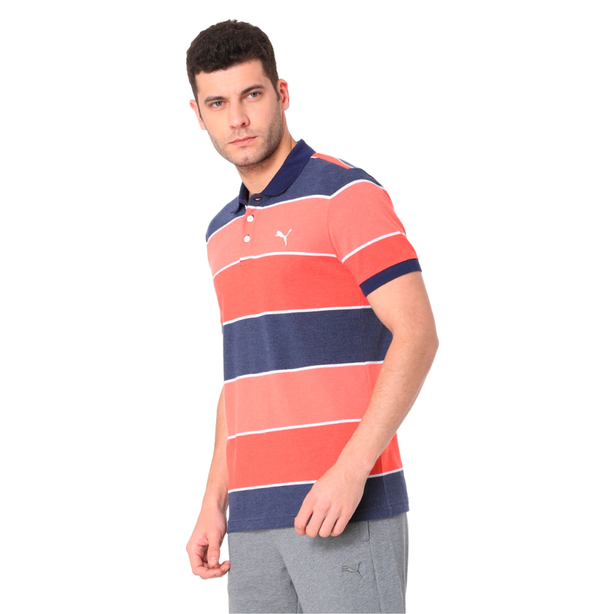 Thumbnail 3 of COLOR BLOCKED POLO M, Flame Scarlet Heather, medium-IND