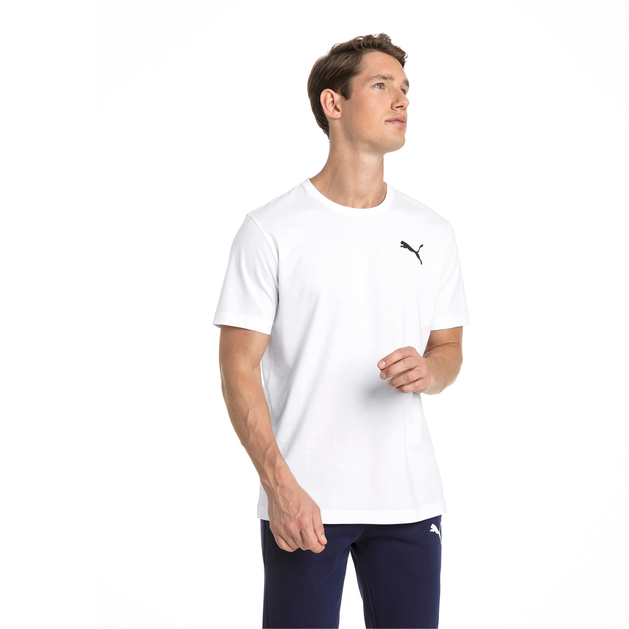 Thumbnail 1 of T-shirt con logo piccolo Essentials uomo, Puma White-_Cat, medium