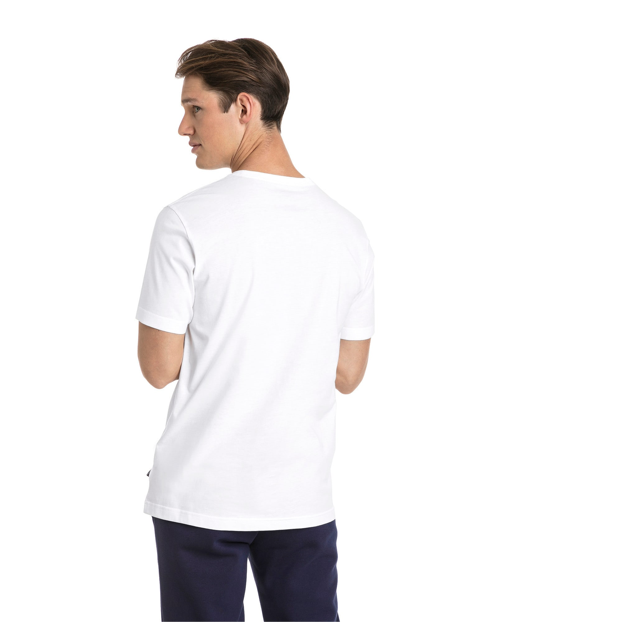 Thumbnail 2 of T-shirt con logo piccolo Essentials uomo, Puma White-_Cat, medium