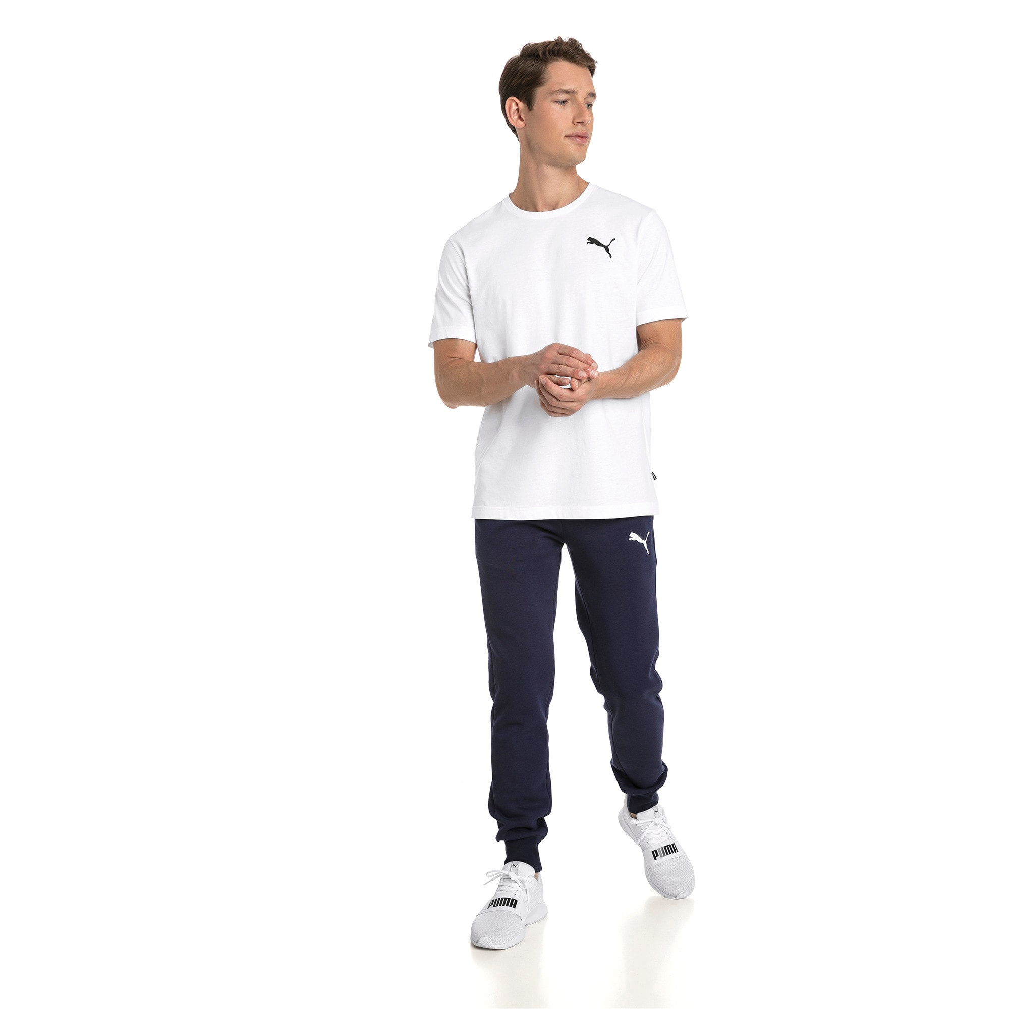 Thumbnail 3 of T-shirt con logo piccolo Essentials uomo, Puma White-_Cat, medium