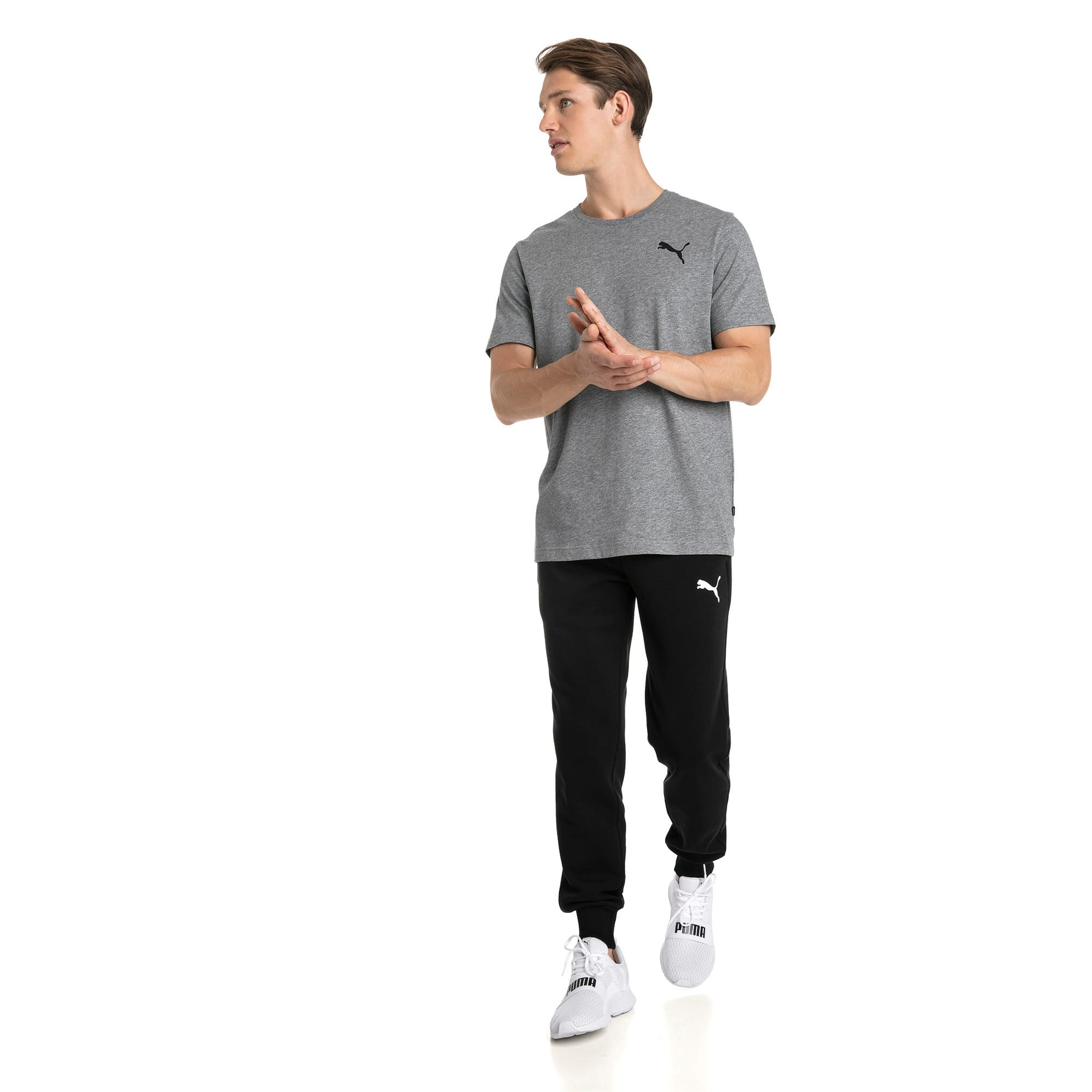 Thumbnail 3 of T-shirt con logo piccolo Essentials uomo, Medium Gray Heather-_Cat, medium