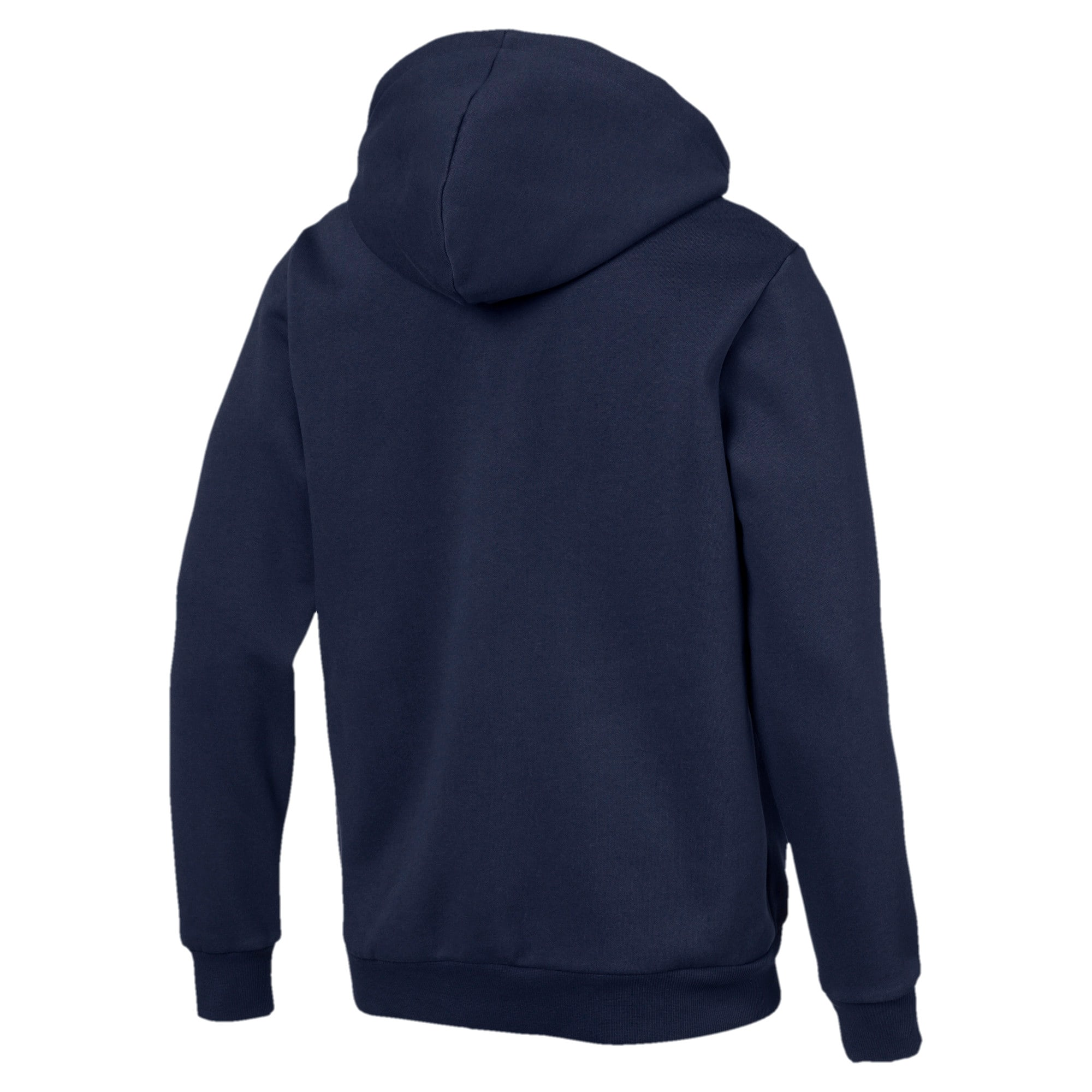 Thumbnail 2 of Essentials Men's Hooded Fleece Logo Jacket, Peacoat, medium