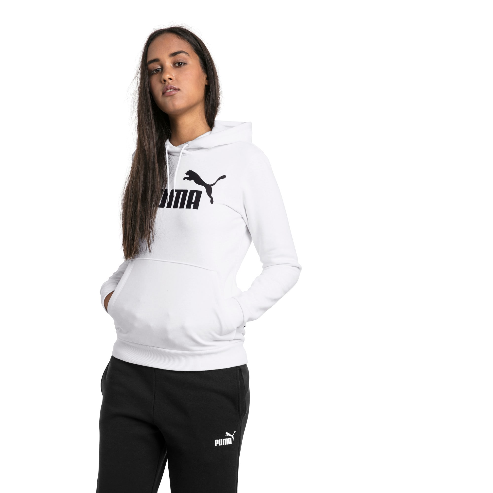 Thumbnail 1 of Essentials Damen Fleece Hoodie, Puma White, medium