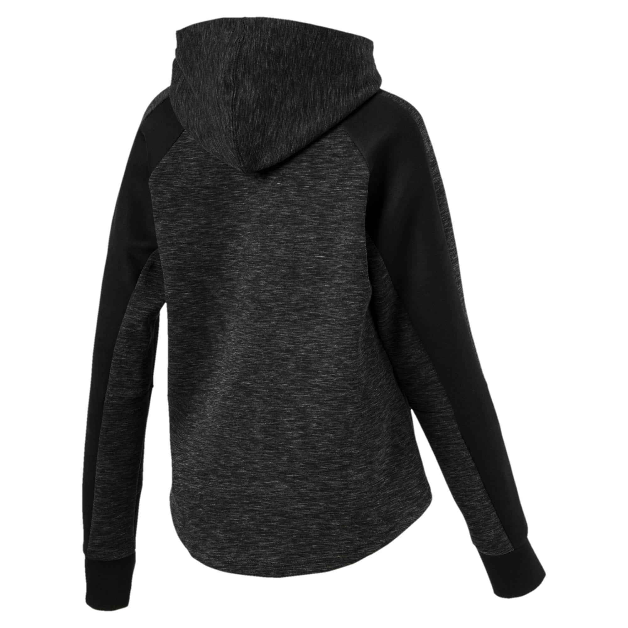 Thumbnail 4 of Evostripe hoodie met rits voor dames, Cotton Black-heather, medium