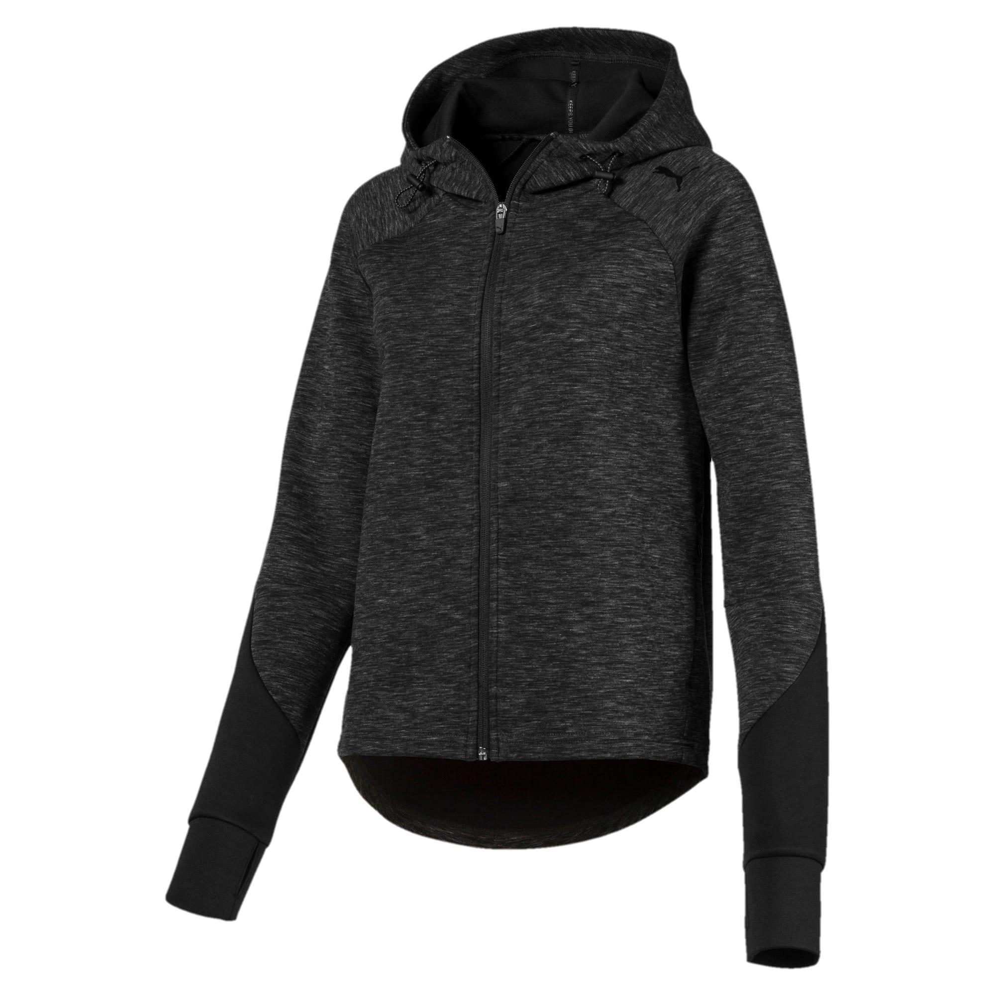 Thumbnail 1 of Evostripe hoodie met rits voor dames, Cotton Black-heather, medium