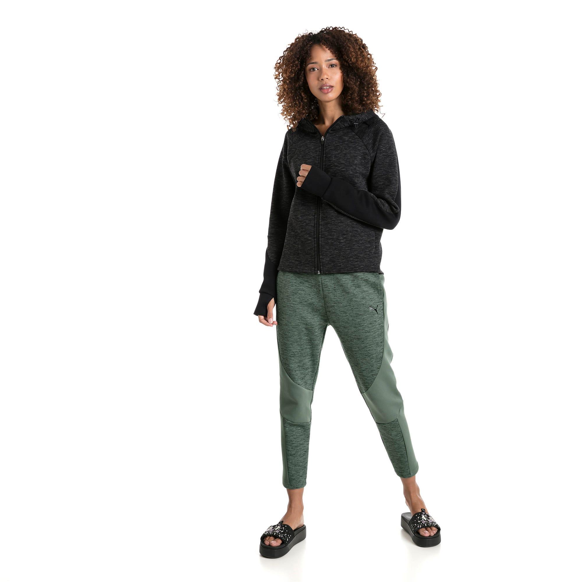 Thumbnail 5 of Evostripe hoodie met rits voor dames, Cotton Black-heather, medium