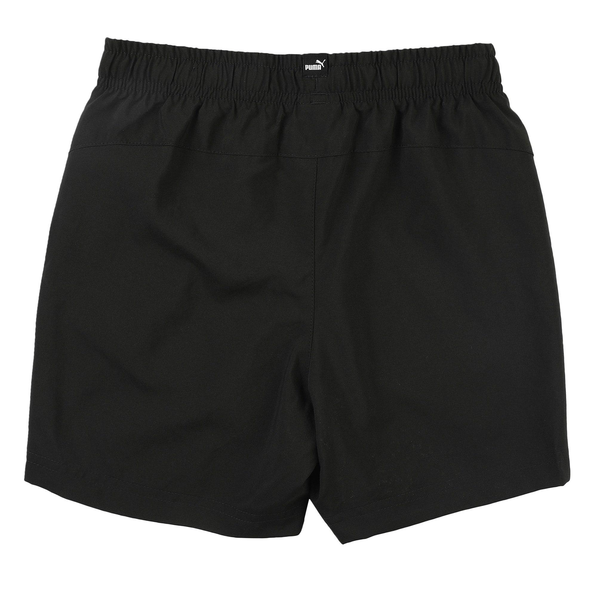 Thumbnail 3 of Essentials Woven Boys' Training Shorts, Puma Black, medium-IND