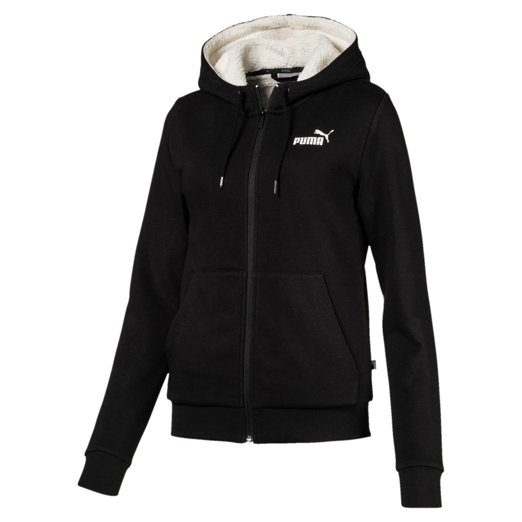 Thumbnail 4 of Essentials + Sherpa Women's Hooded Jacket, Cotton Black, medium