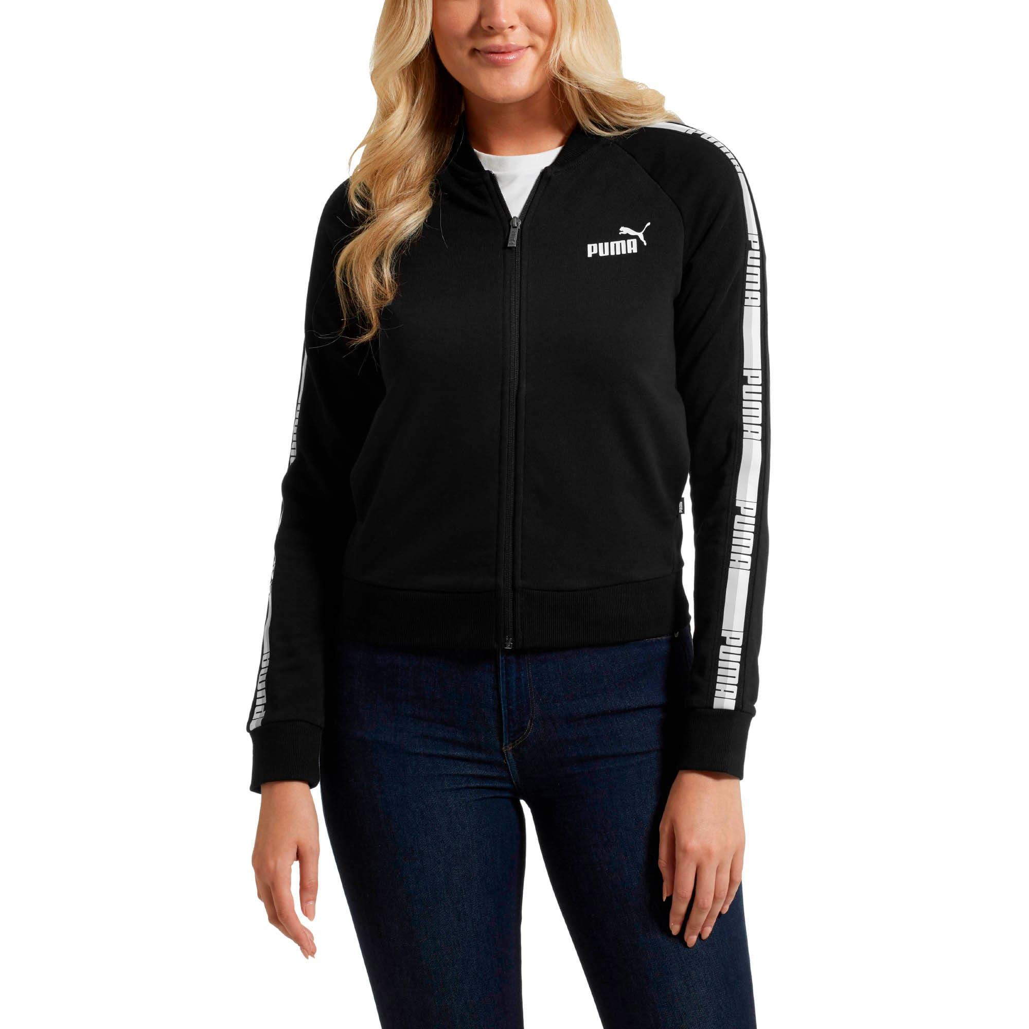 Thumbnail 2 of Tape Full Zip Women's Track Jacket, Cotton Black, medium