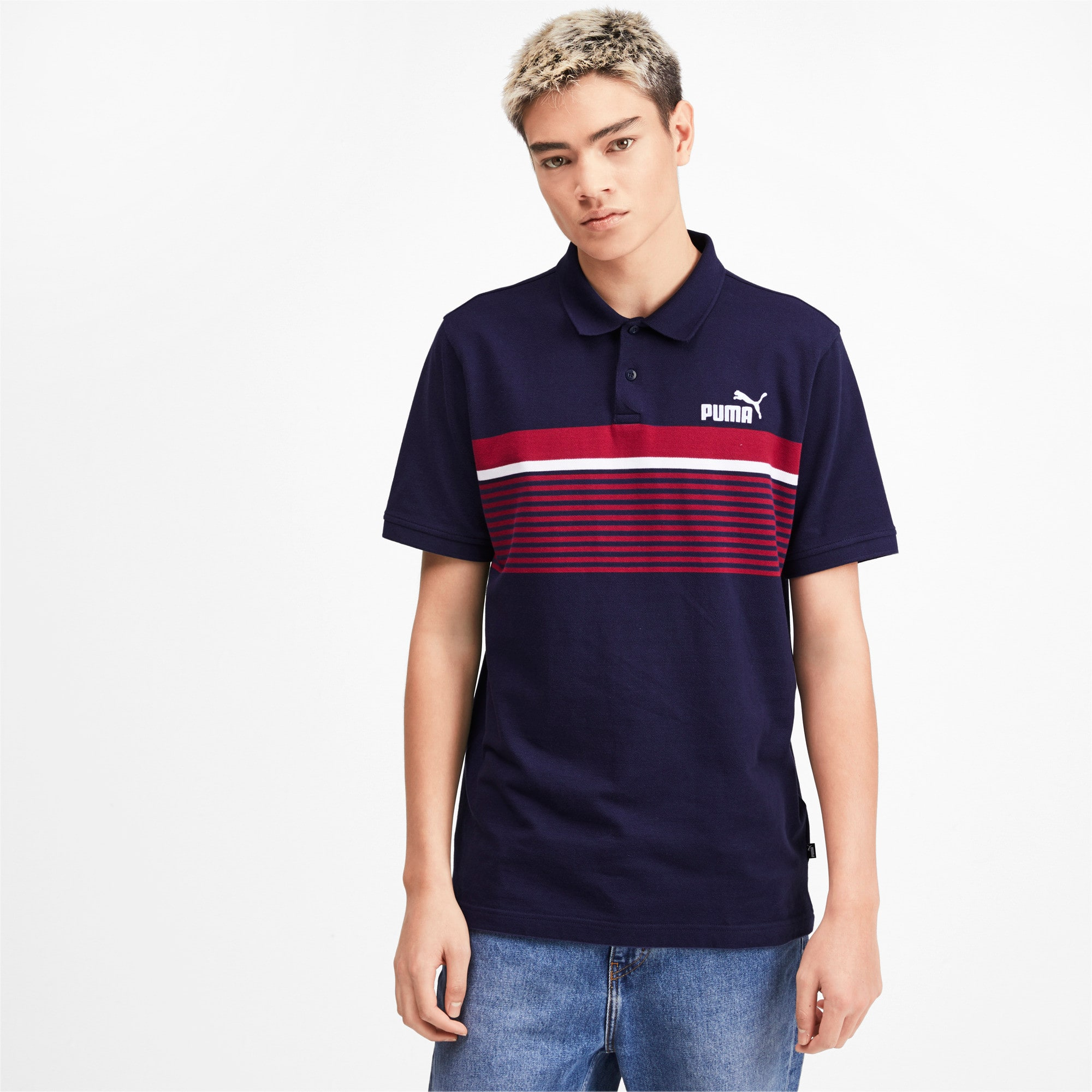 Miniatura 2 de Camiseta tipo polo ESS+ Striped para hombre, Peacoat, mediano