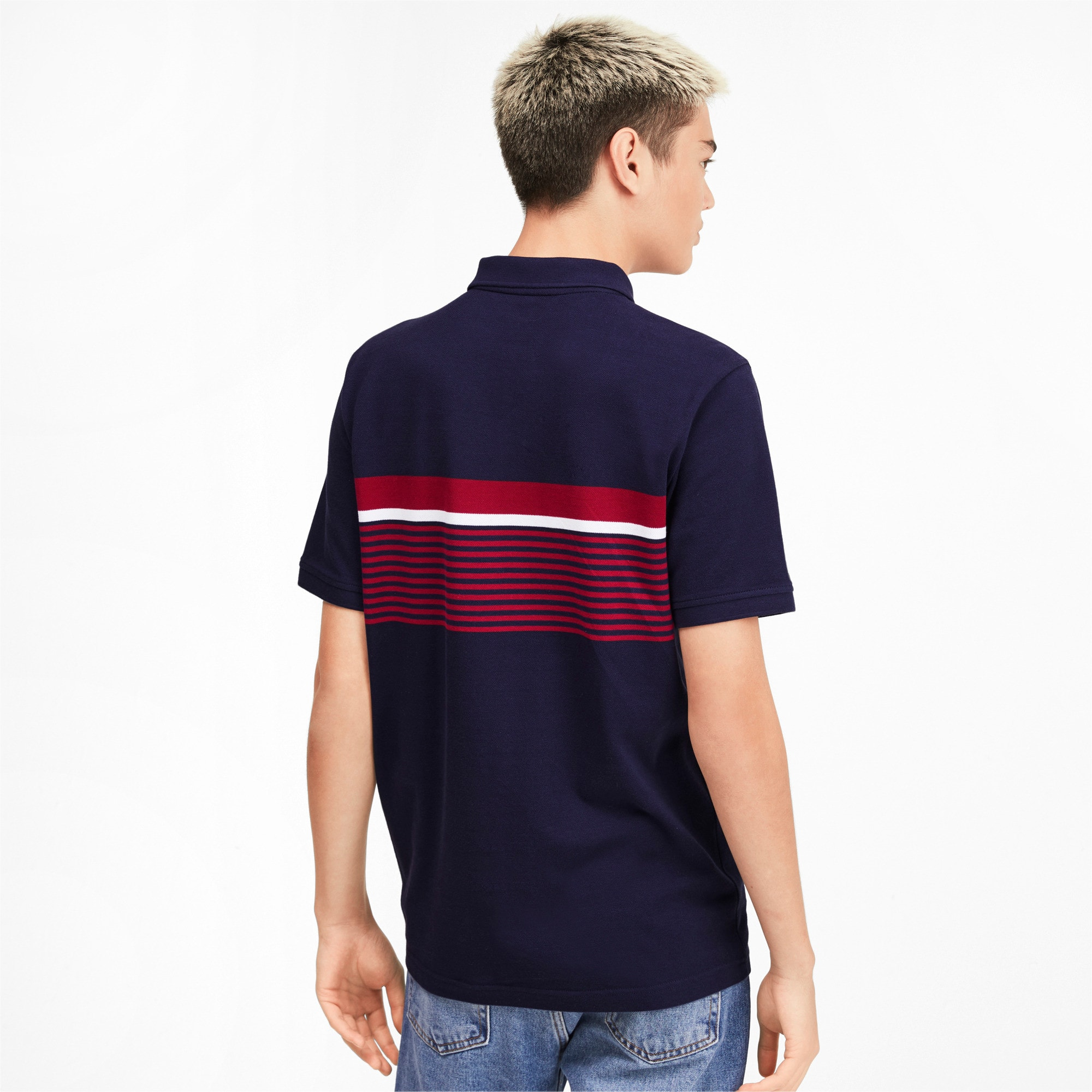 Miniatura 3 de Camiseta tipo polo ESS+ Striped para hombre, Peacoat, mediano