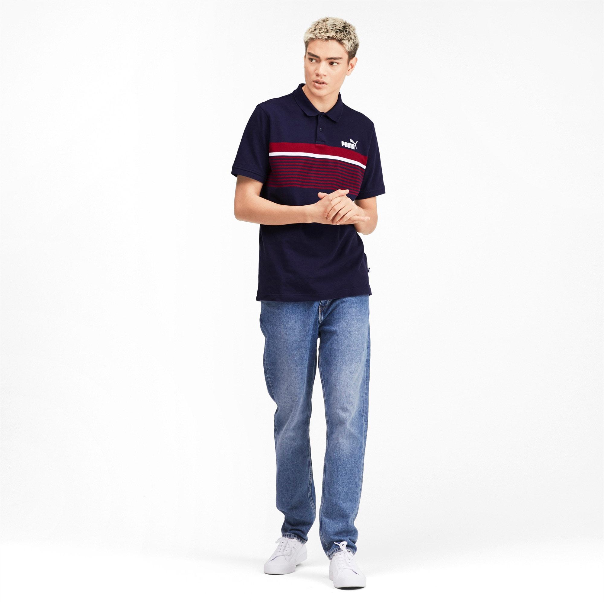 Miniatura 4 de Camiseta tipo polo ESS+ Striped para hombre, Peacoat, mediano