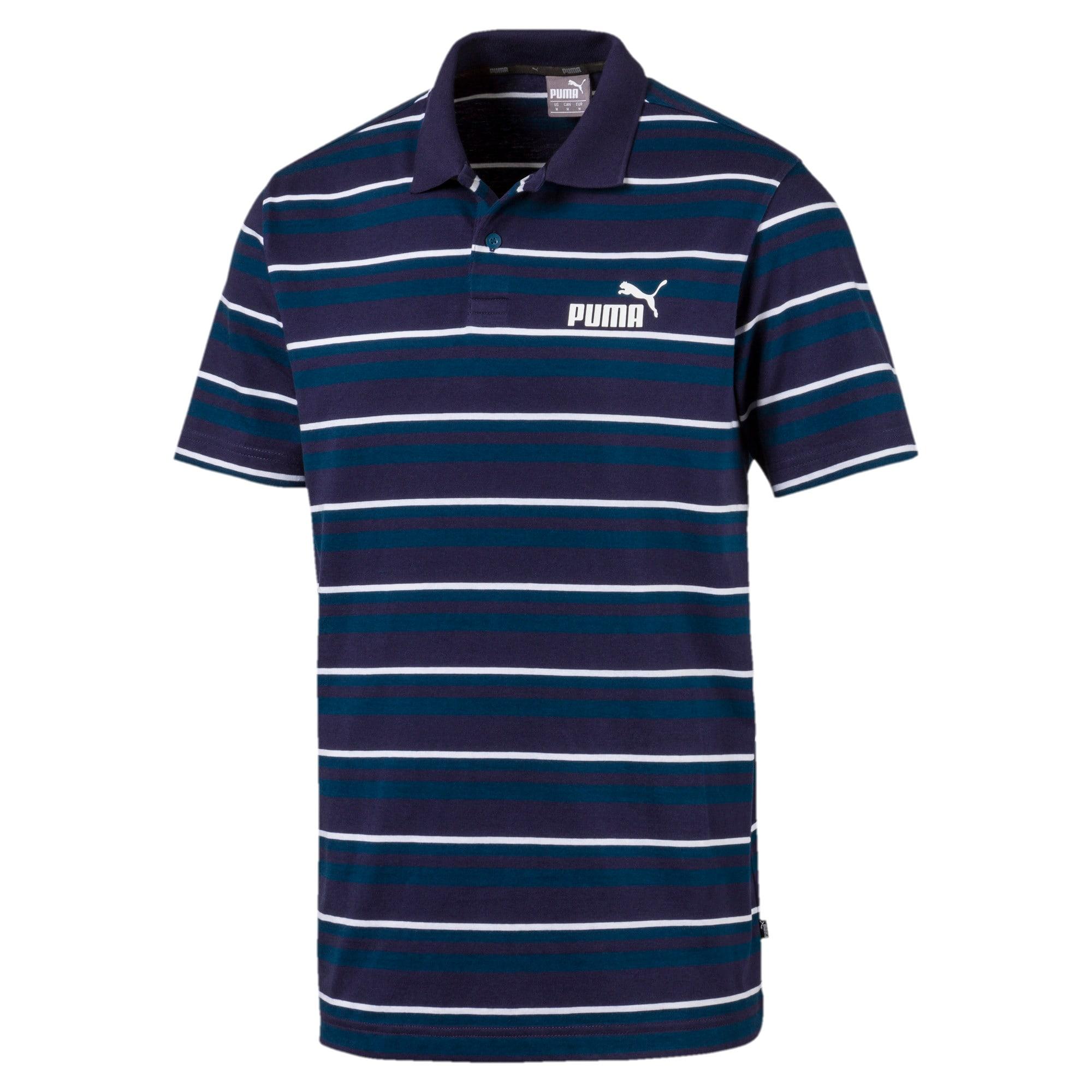 Miniatura 1 de Camiseta tipo polo ESS+ Striped J para hombre, Gibraltar Sea, mediano