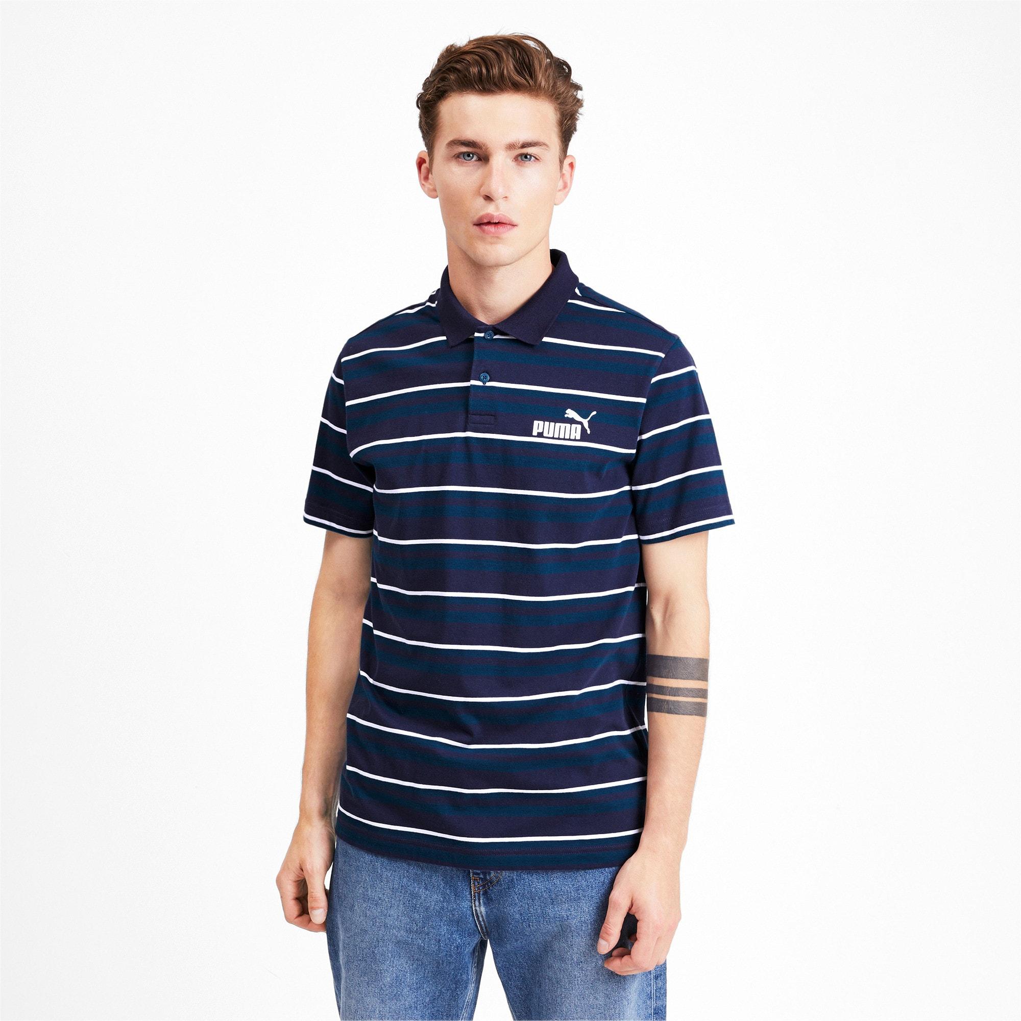 Miniatura 2 de Camiseta tipo polo ESS+ Striped J para hombre, Gibraltar Sea, mediano
