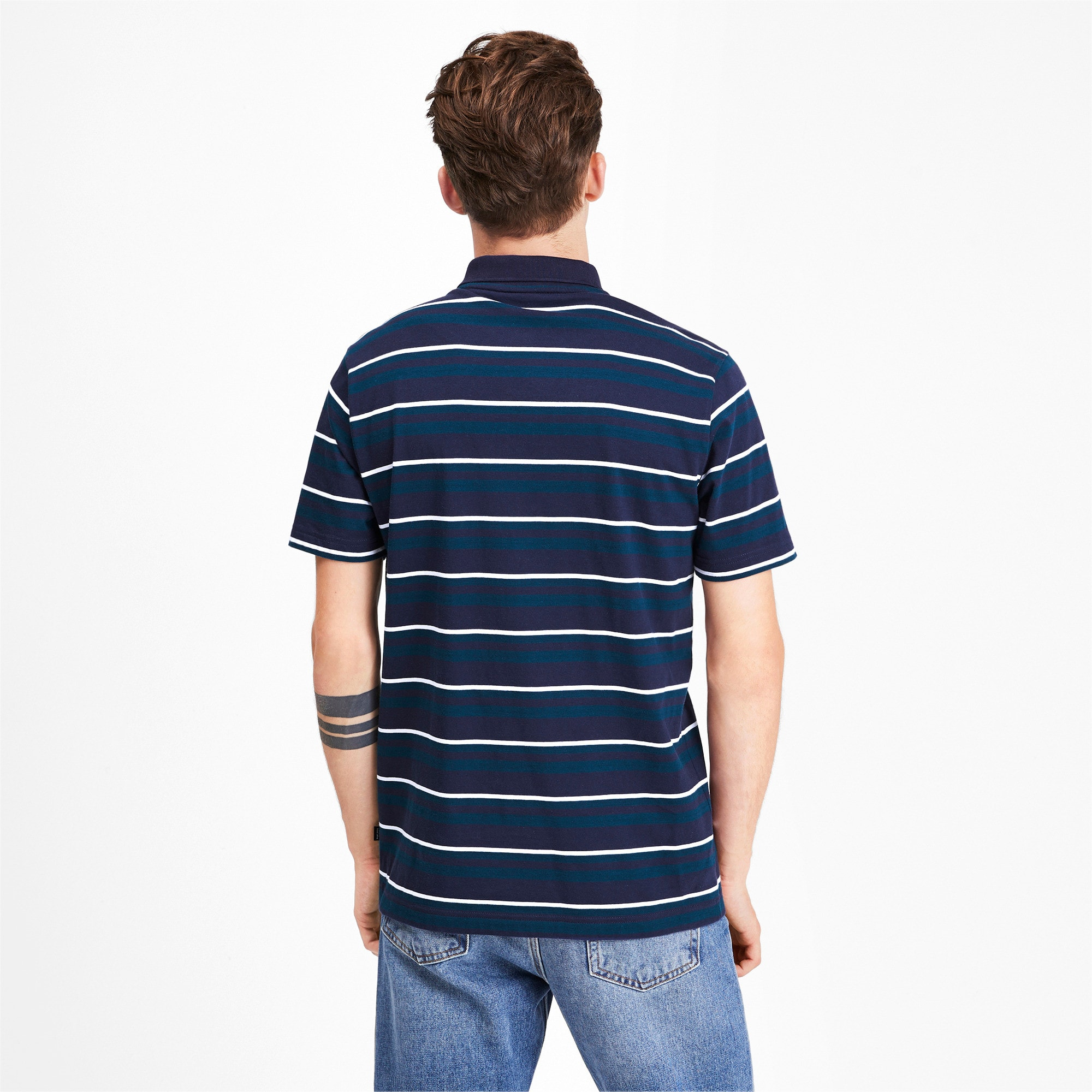 Miniatura 3 de Camiseta tipo polo ESS+ Striped J para hombre, Gibraltar Sea, mediano