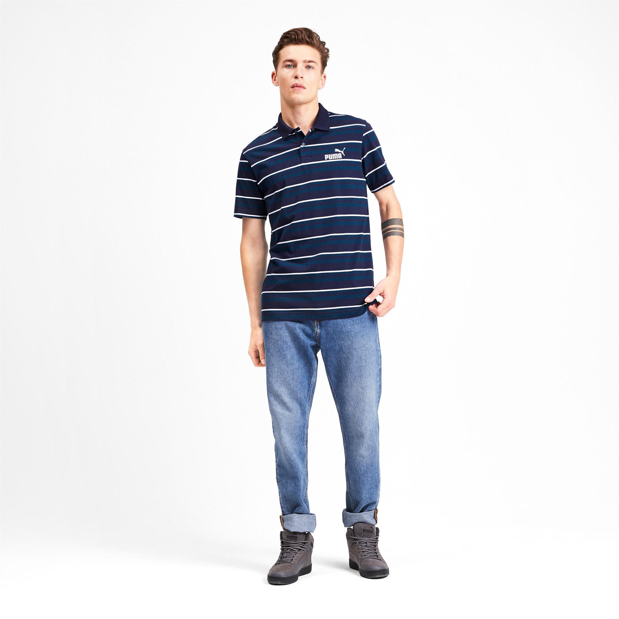 Miniatura 4 de Camiseta tipo polo ESS+ Striped J para hombre, Gibraltar Sea, mediano