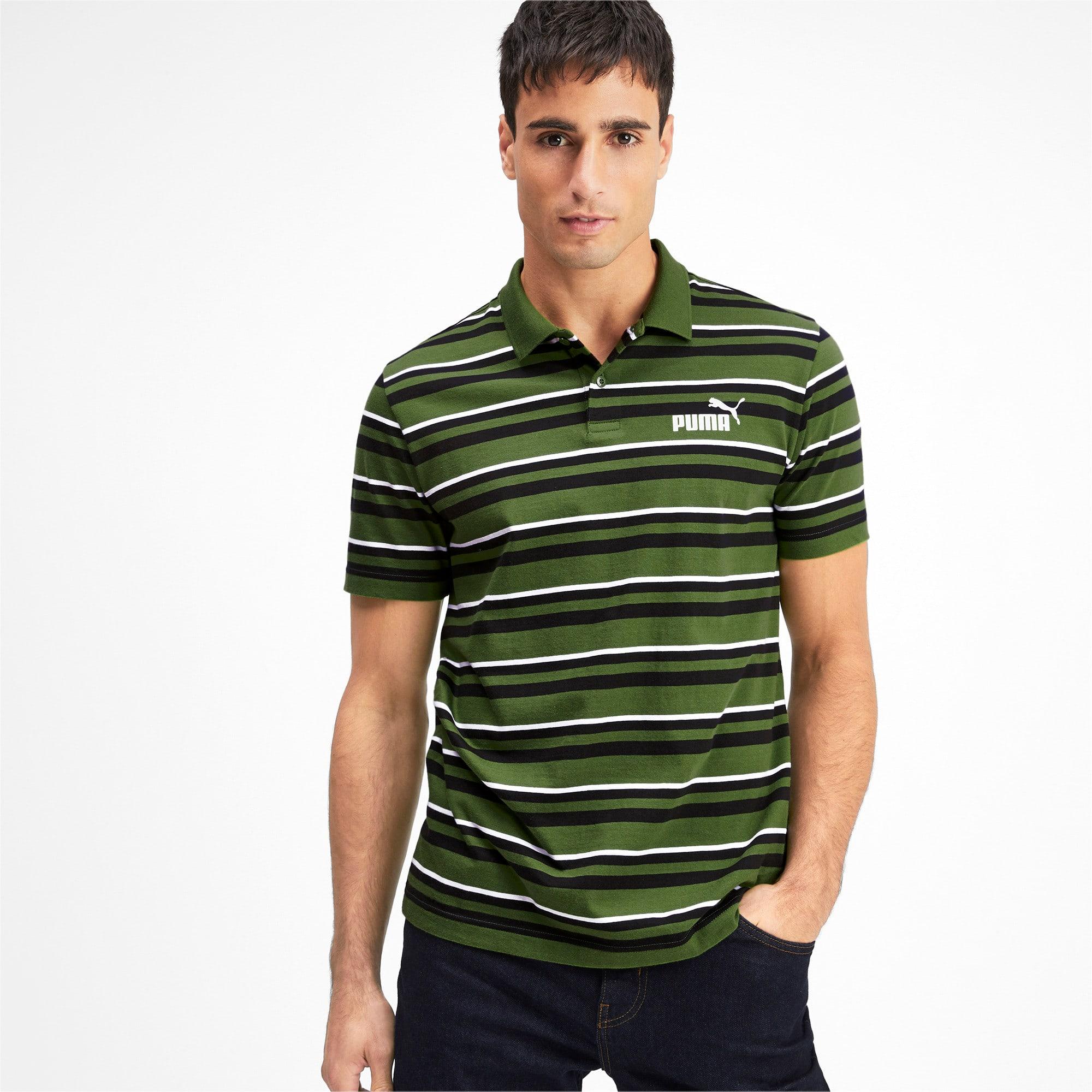 Miniatura 2 de Camiseta tipo polo ESS+ Striped J para hombre, Garden Green, mediano