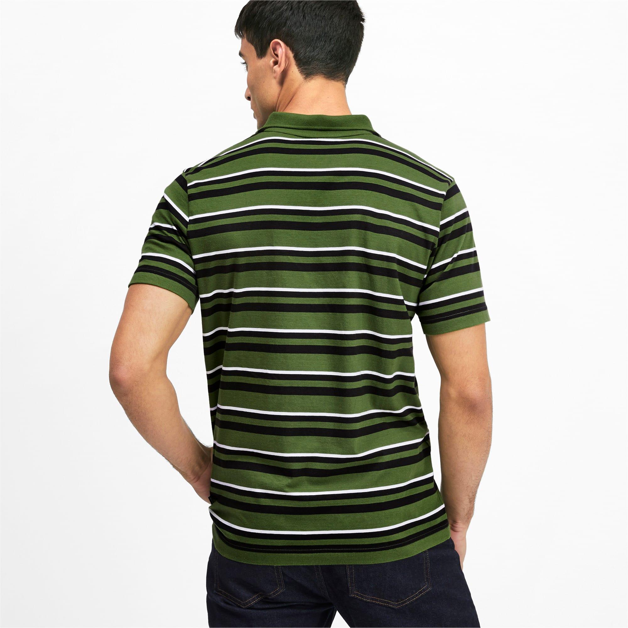 Miniatura 3 de Camiseta tipo polo ESS+ Striped J para hombre, Garden Green, mediano