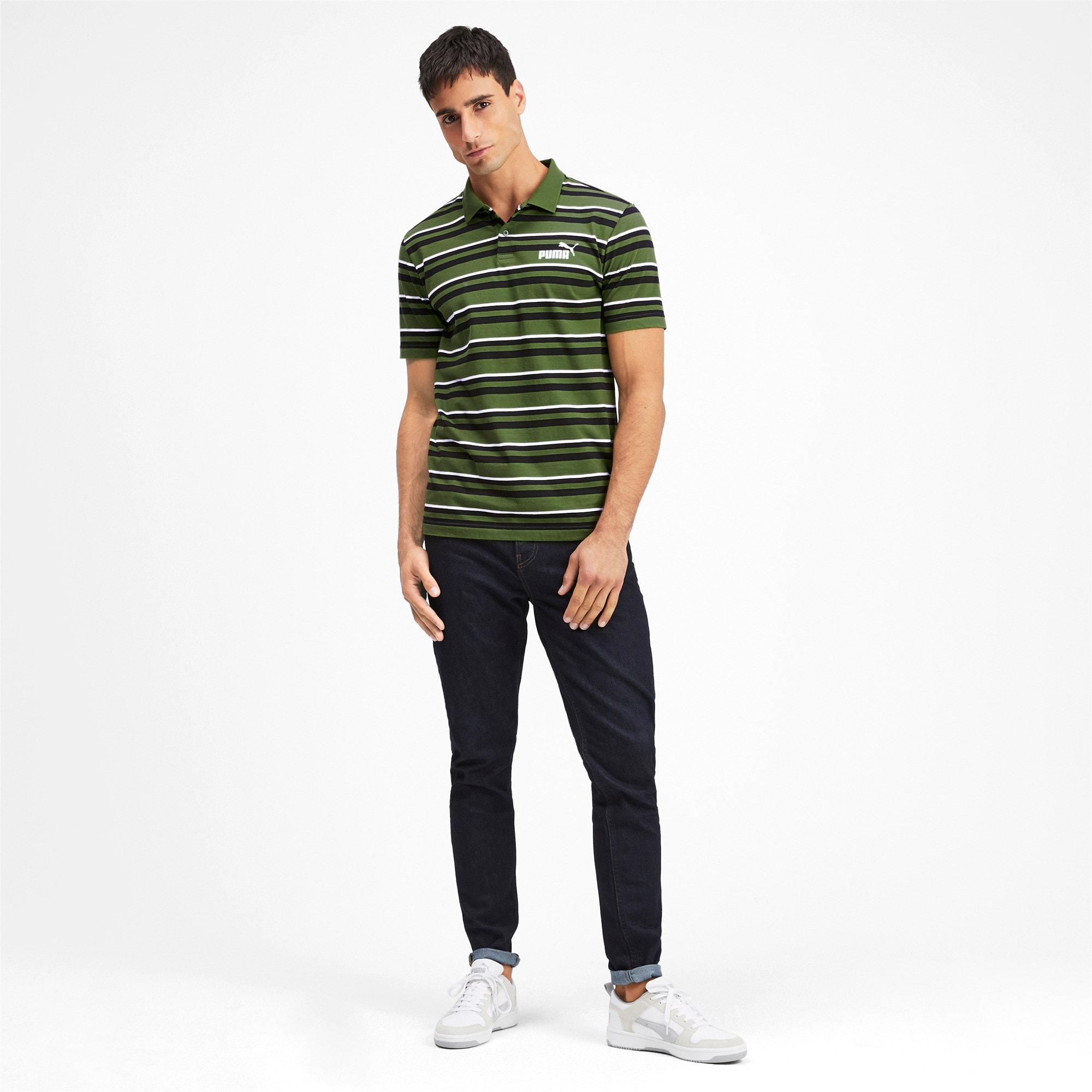Miniatura 4 de Camiseta tipo polo ESS+ Striped J para hombre, Garden Green, mediano