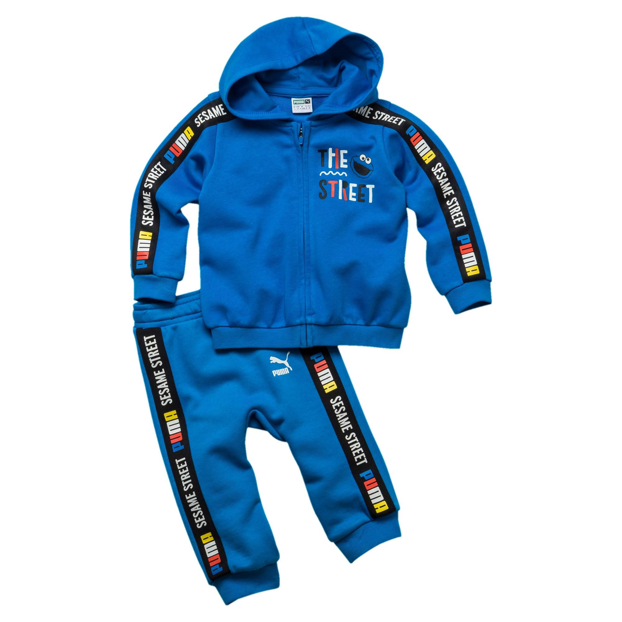 Thumbnail 1 of Sesame Street baby-trainingspak met capuchon voor jongens, Indigo Bunting, medium
