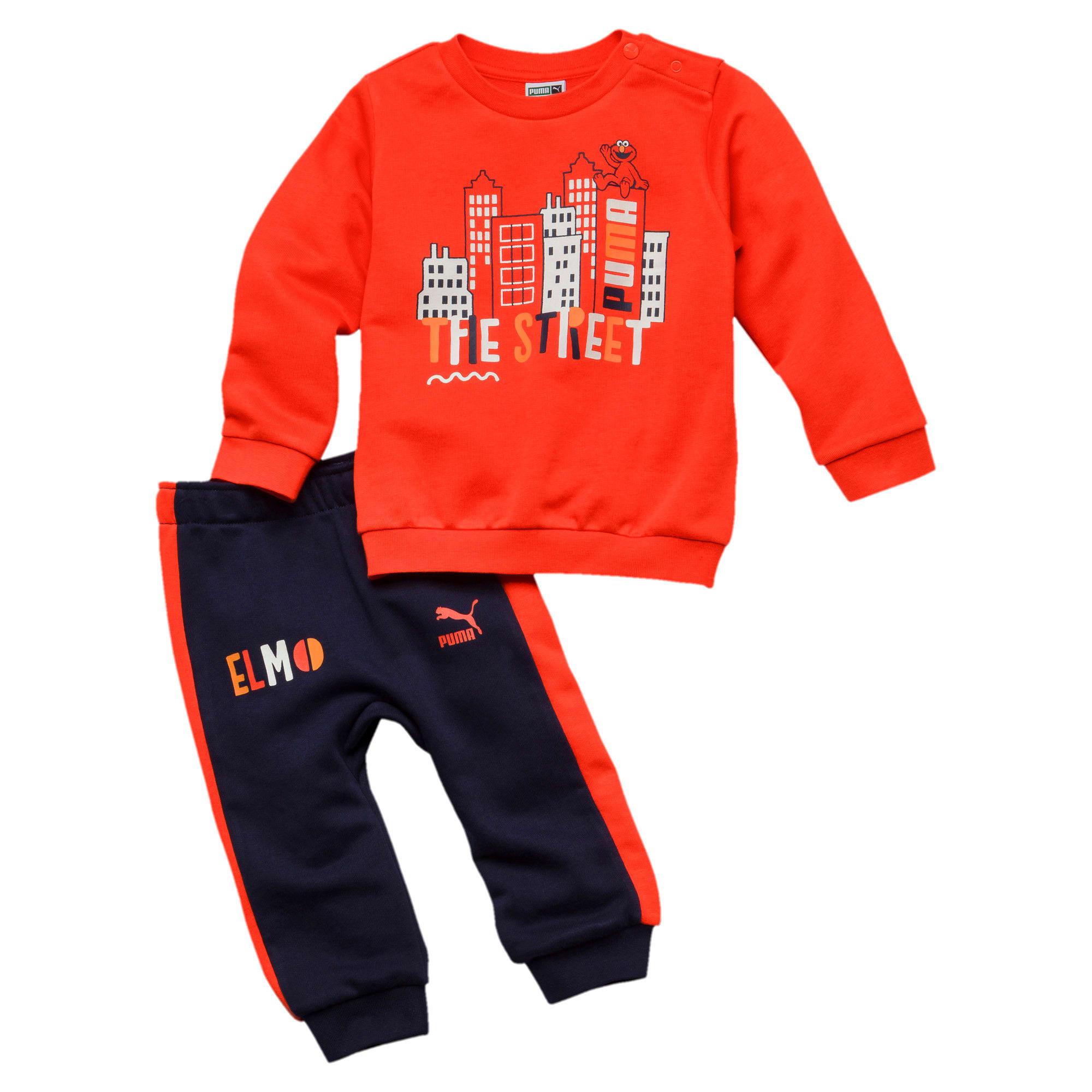 Thumbnail 1 of PUMA x SESAME STREET Infant + Toddler Crewneck Jogger Set, Cherry Tomato, medium