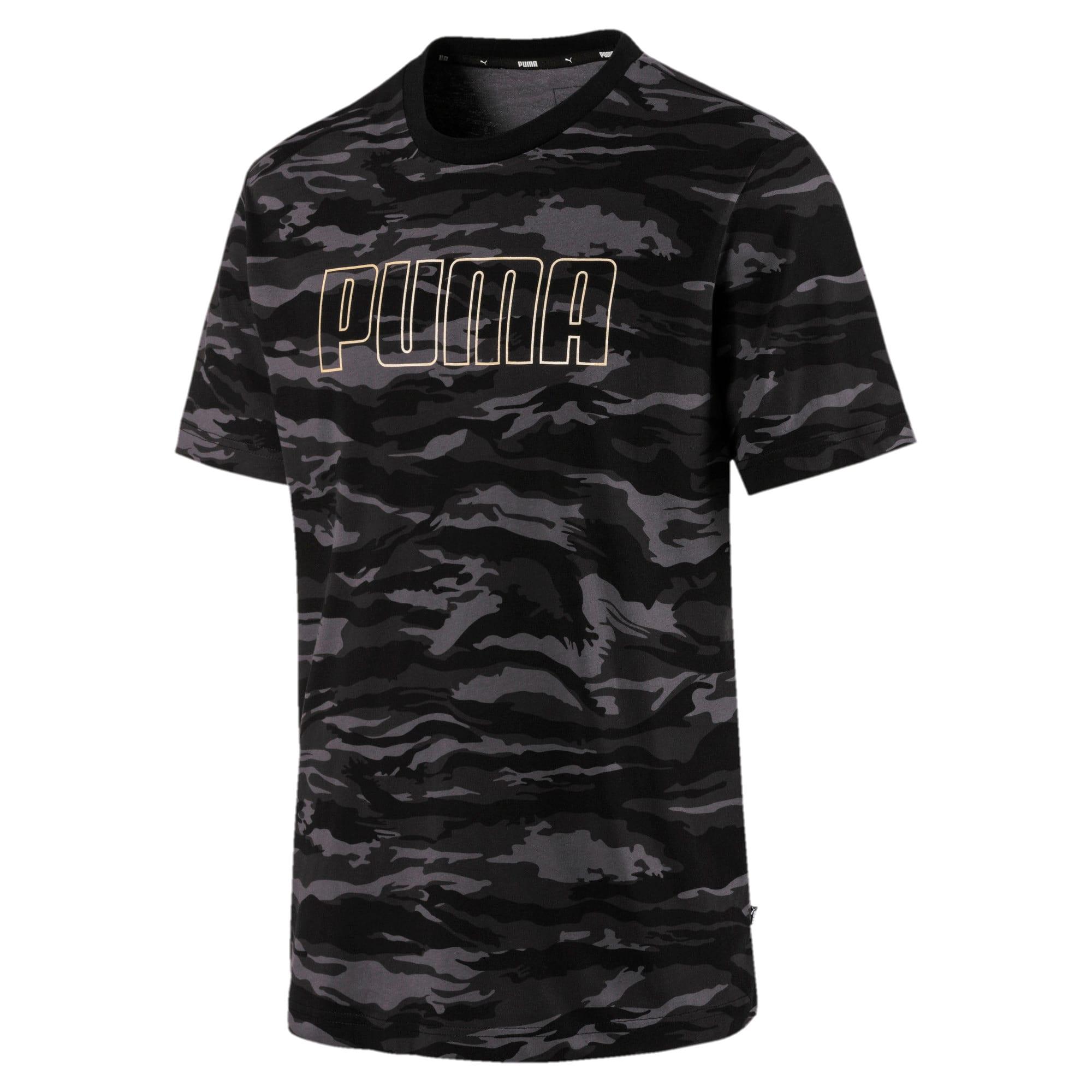 Thumbnail 1 of Camo AOP T-Shirt, Cotton Black-Gold, medium
