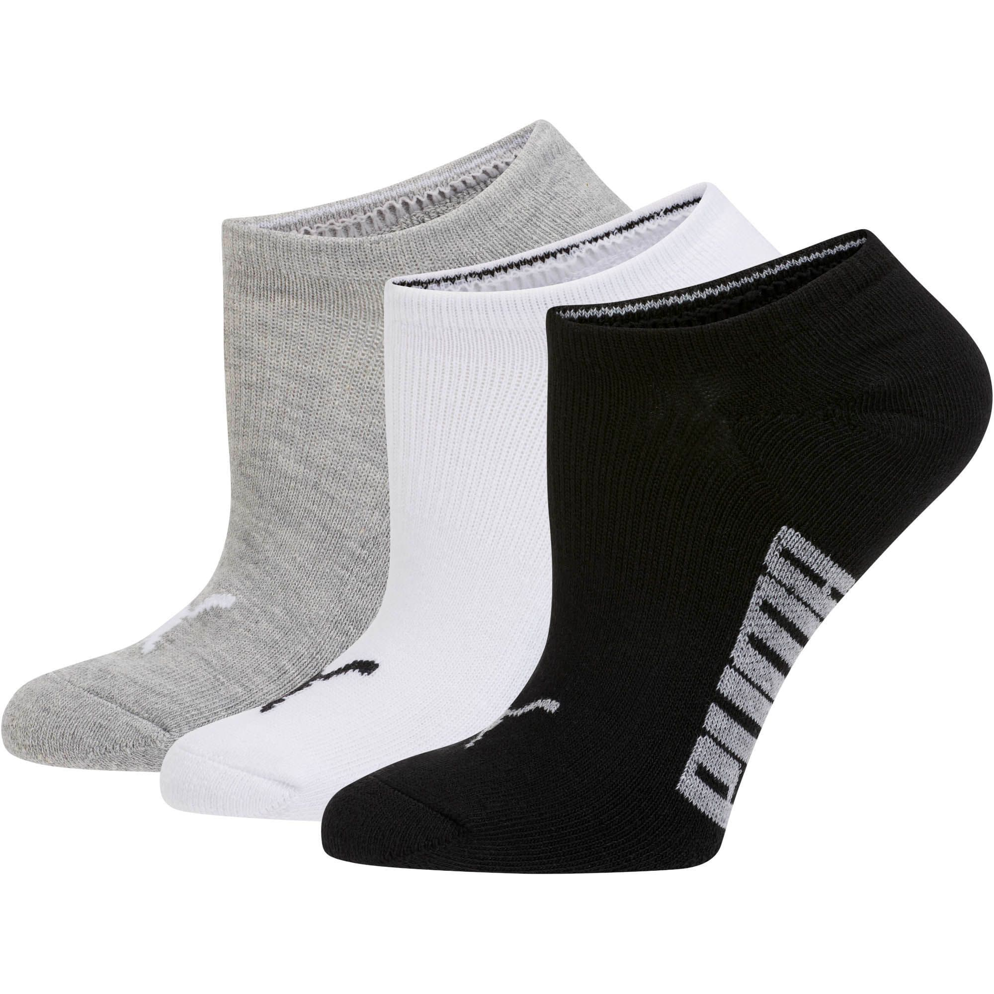 Thumbnail 1 of Women's Invisible No Show Socks (3 Pack), white-black-light heather gr, medium