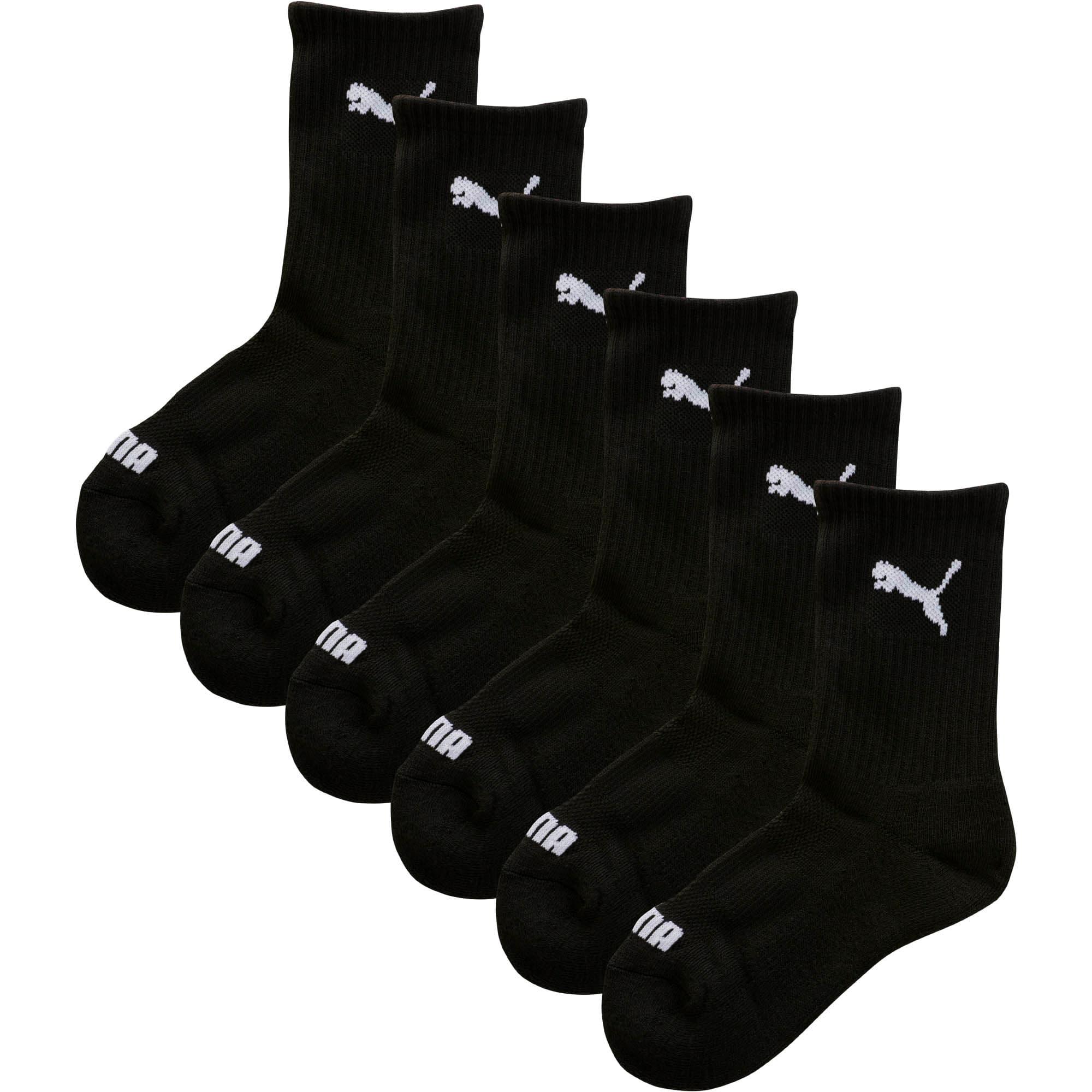 PUMA Socks Mens Crew Socks White//Black Logo Pack of 6