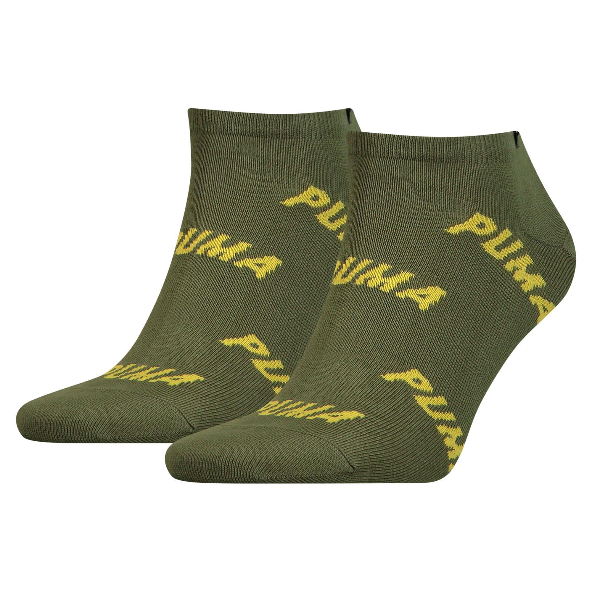 Thumbnail 1 of All-Over Logo Men's Trainer Socks 2 Pack, green / yellow, medium