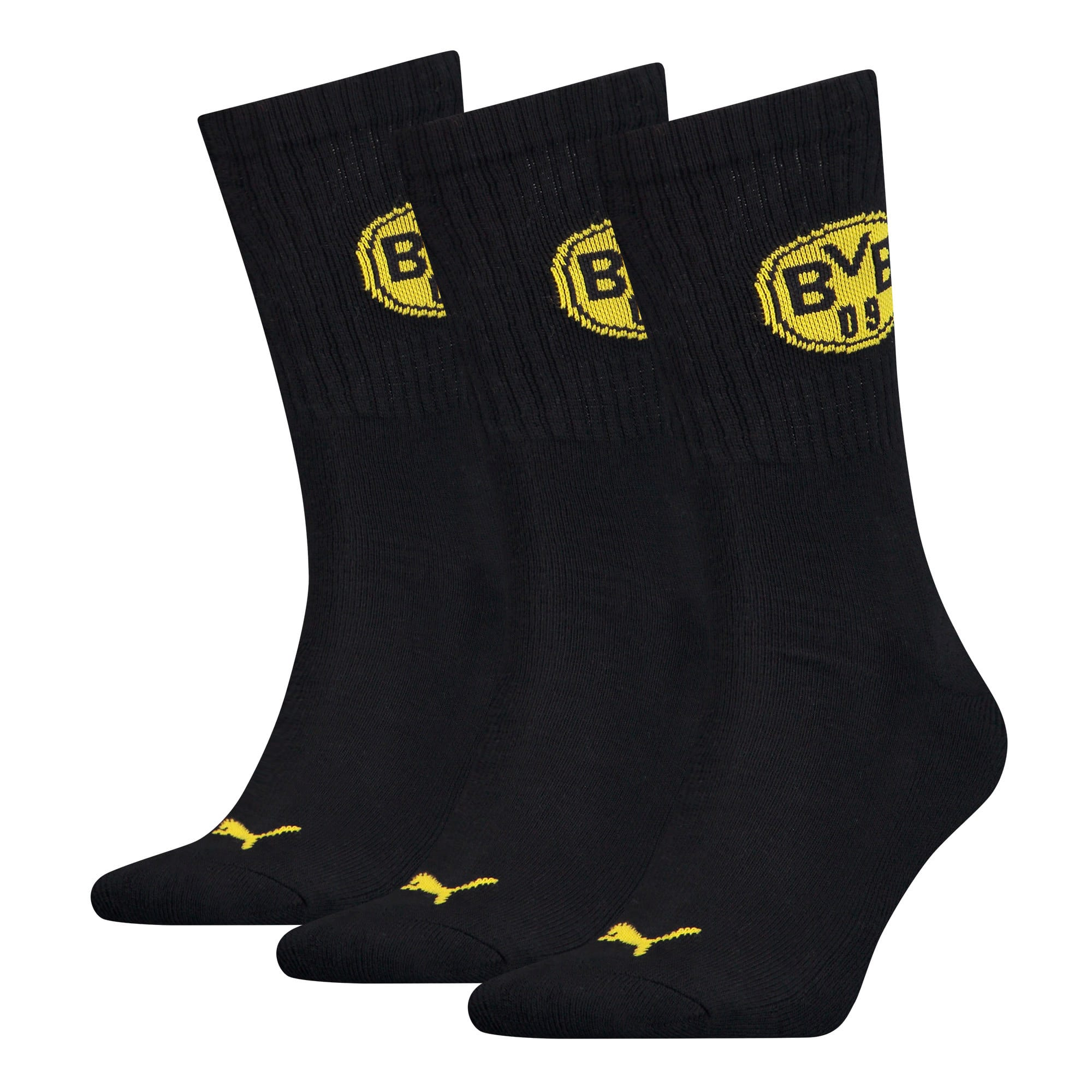 PUMA x BVB Sport Socks 3 Pack, black, large