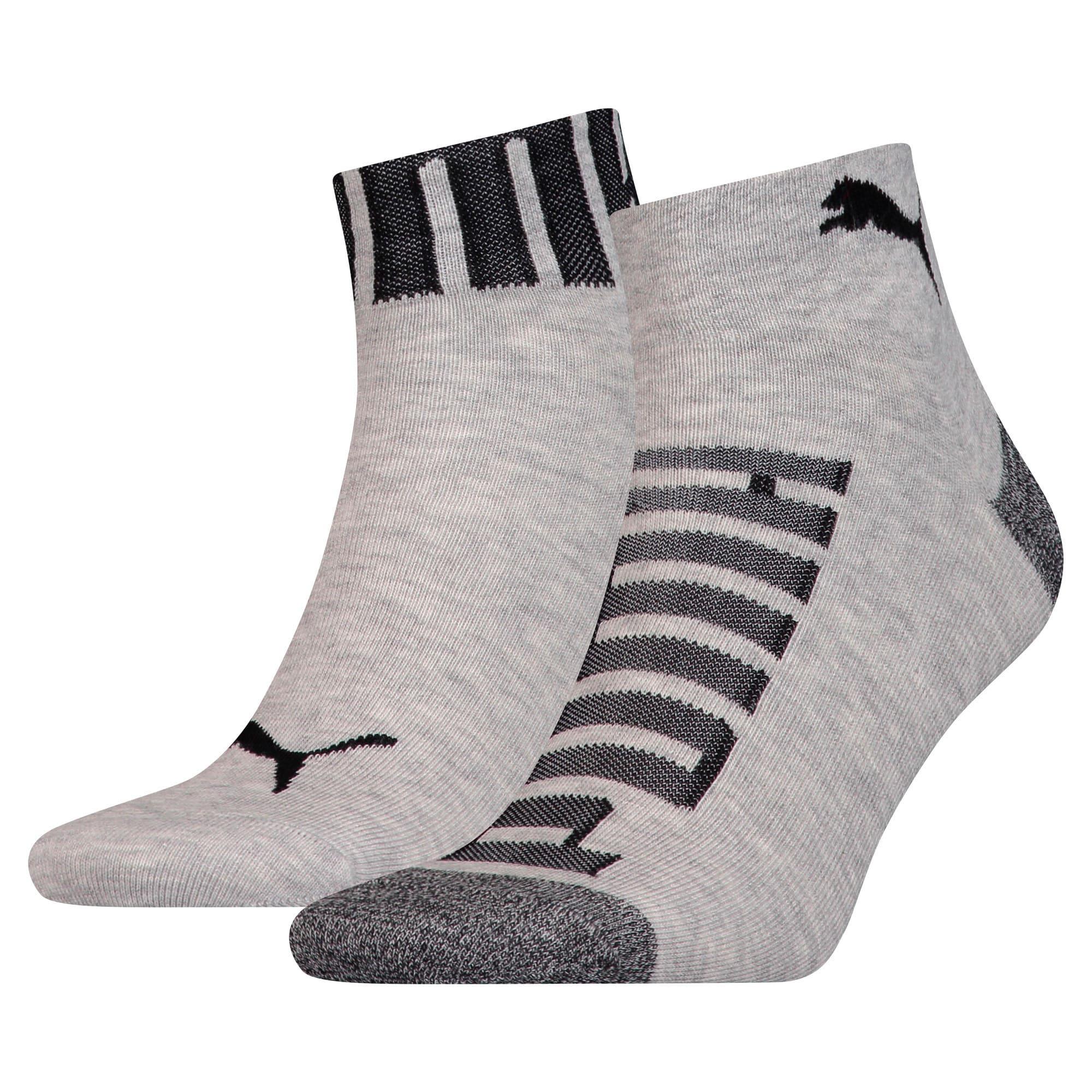 Thumbnail 1 of Logo Welt Men's Quarter Socks 2 Pack, mid grey / black, medium