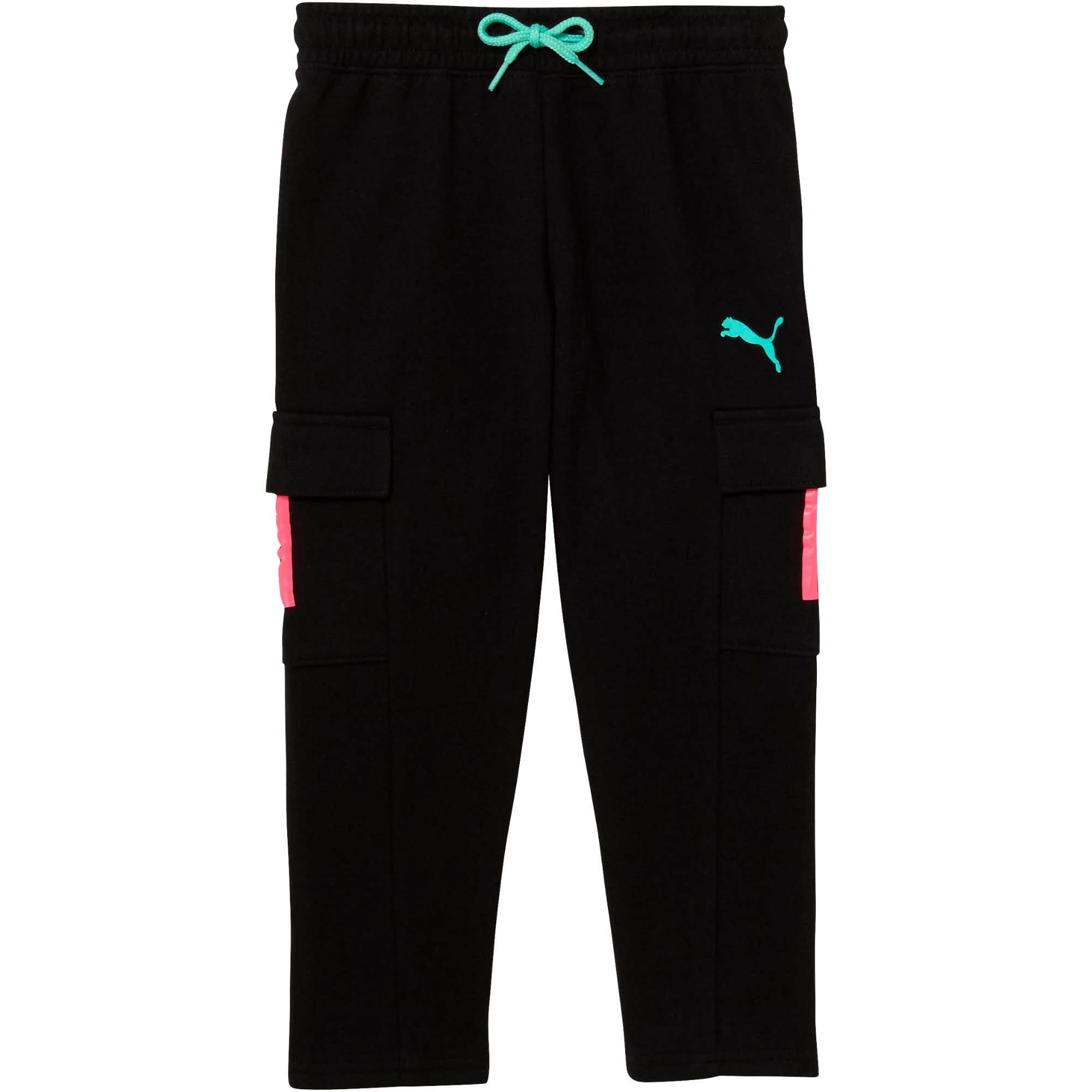 Thumbnail 1 of Little Kids' Cargo Pants, PUMA BLACK, medium