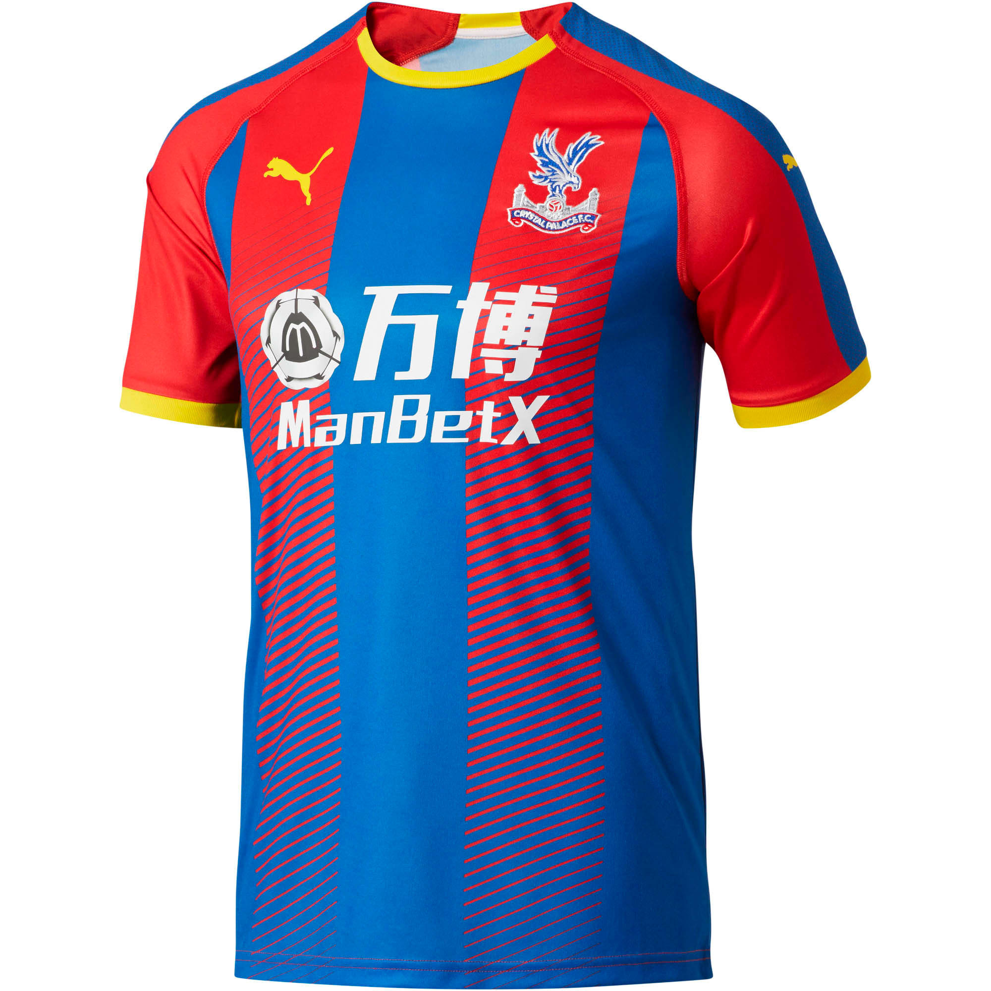 Thumbnail 1 of Crystal Palace Men's Home Replica Jersey, Crystal Palace Blue- Red Str, medium