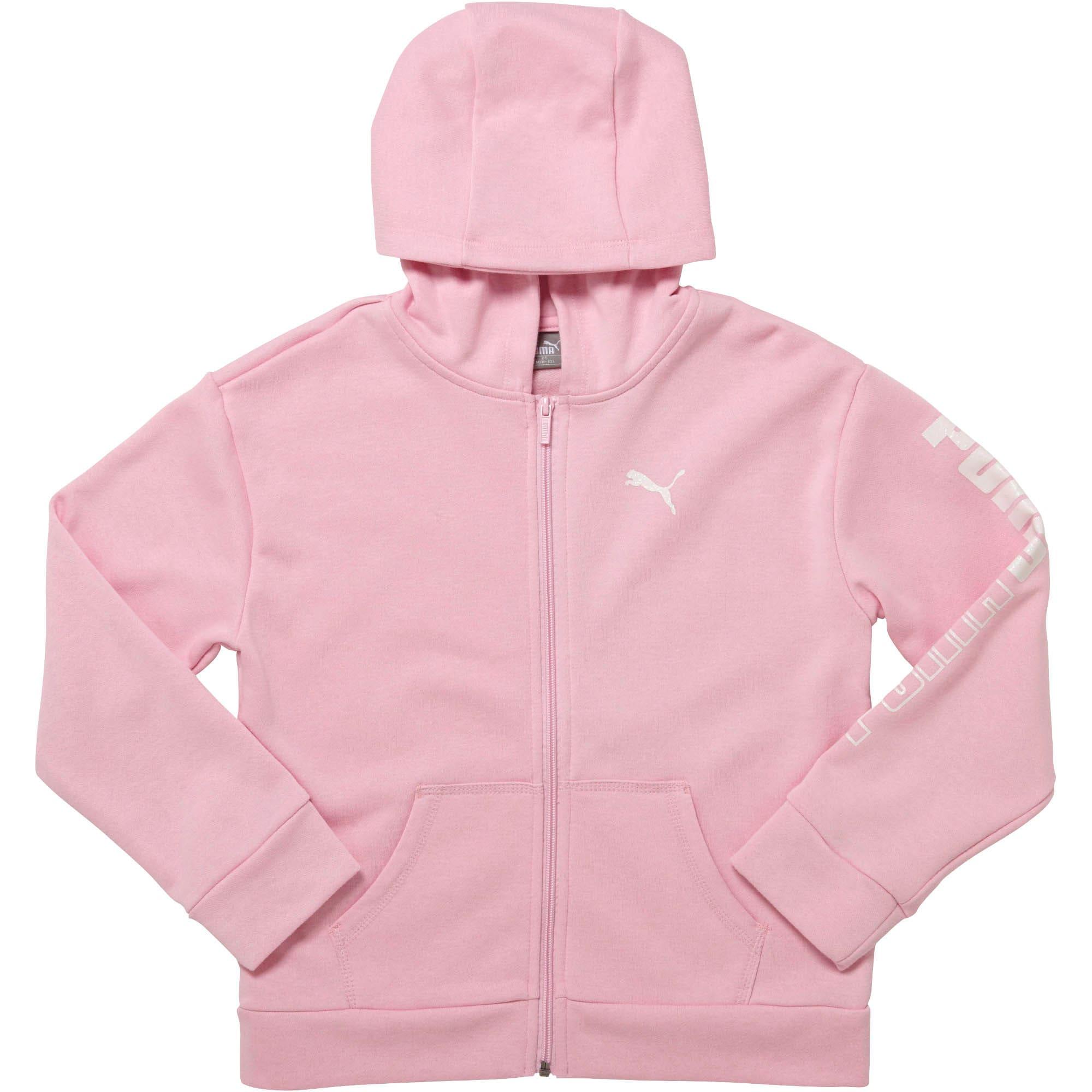 Thumbnail 1 of Girls' Fleece Full Zip Hoodie JR, PALE PINK, medium