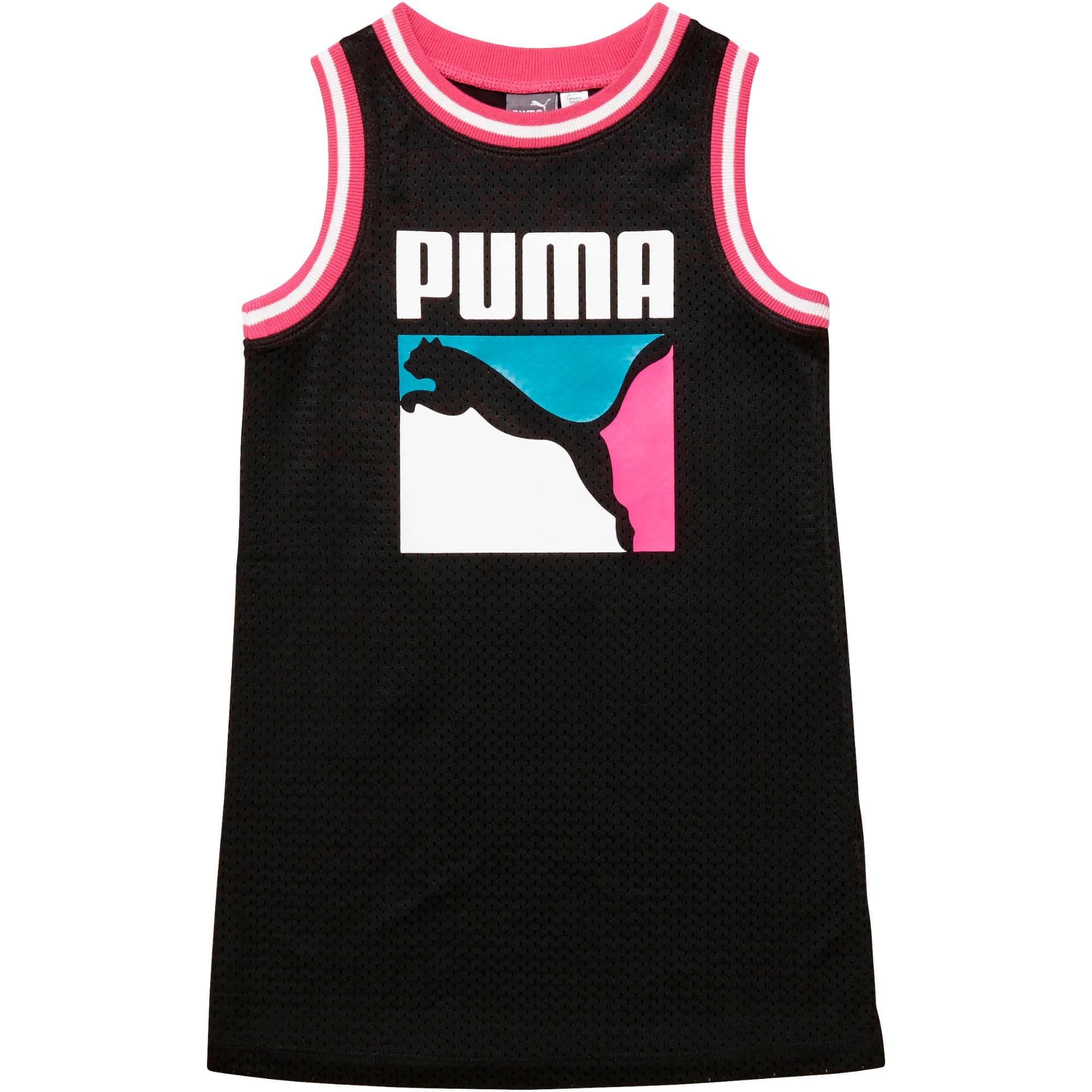 Thumbnail 1 of Little Kids' Cotton Jersey Mesh Dress, PUMA BLACK, medium