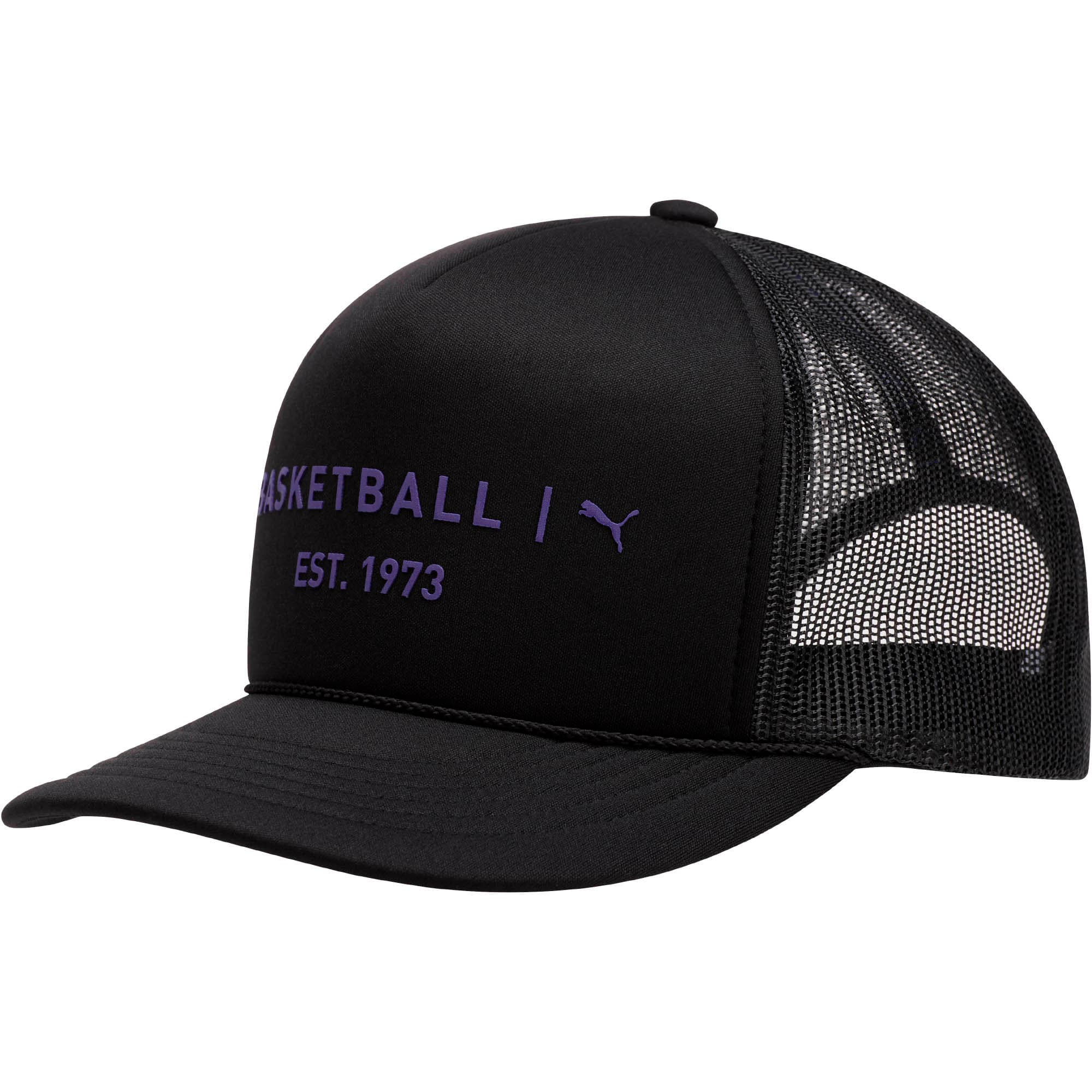 Thumbnail 1 of Core Mesh Trucker Hat, BLACK / PURPLE, medium