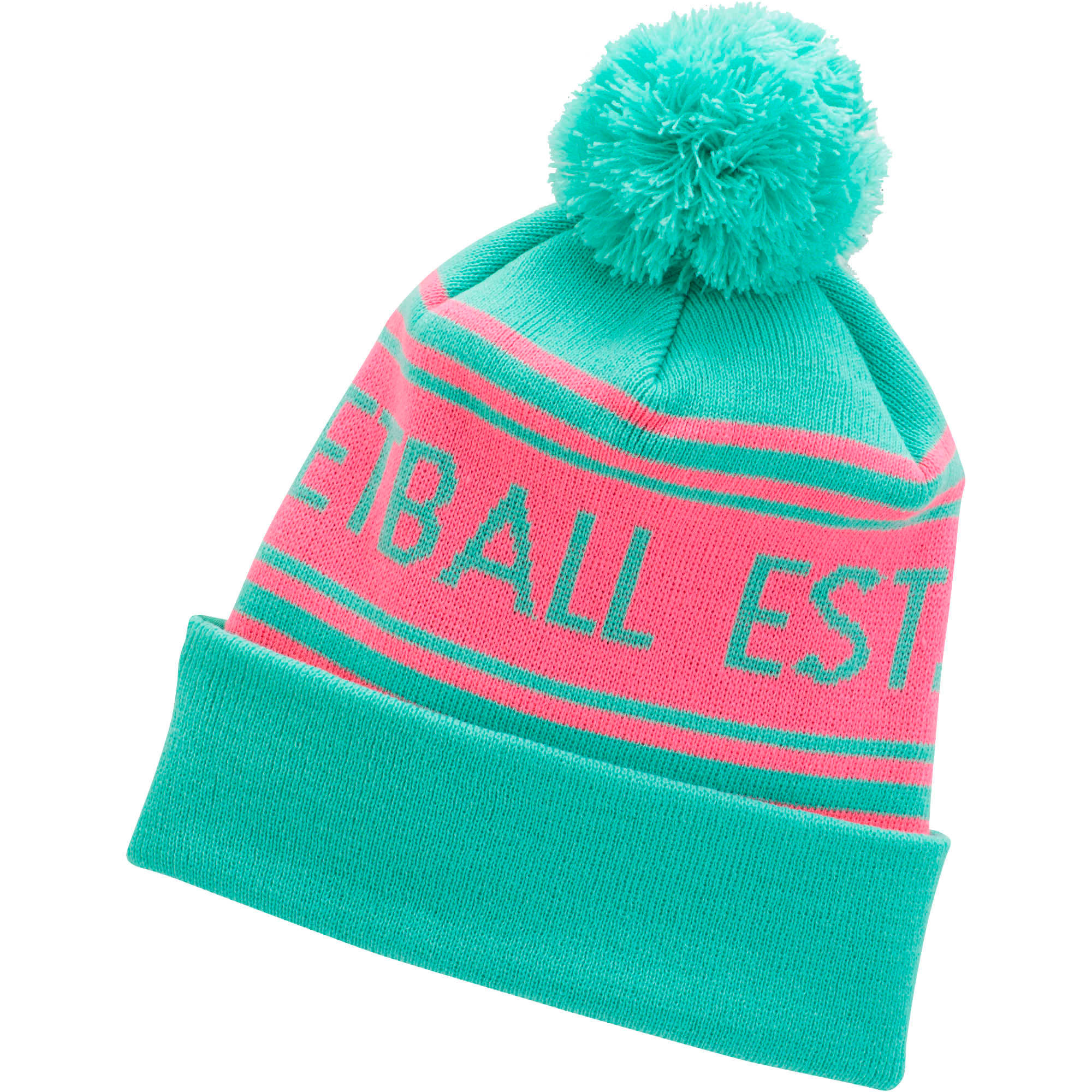 Thumbnail 1 of PUMA Basketball Pom Beanie, BRIGHT GREEN / PINK, medium