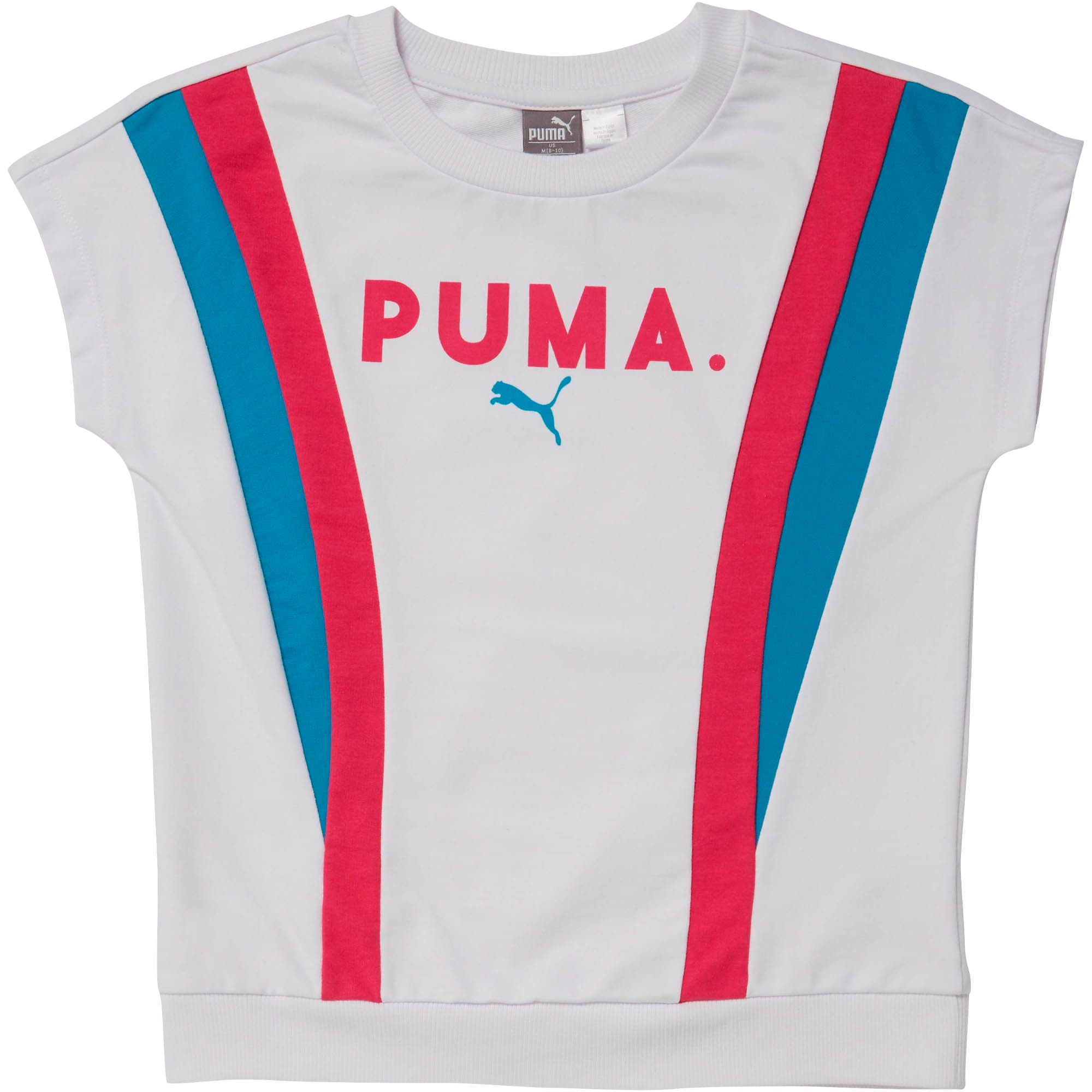 Girls' Colorblock Short Sleeve Pullover JR, PUMA WHITE, large