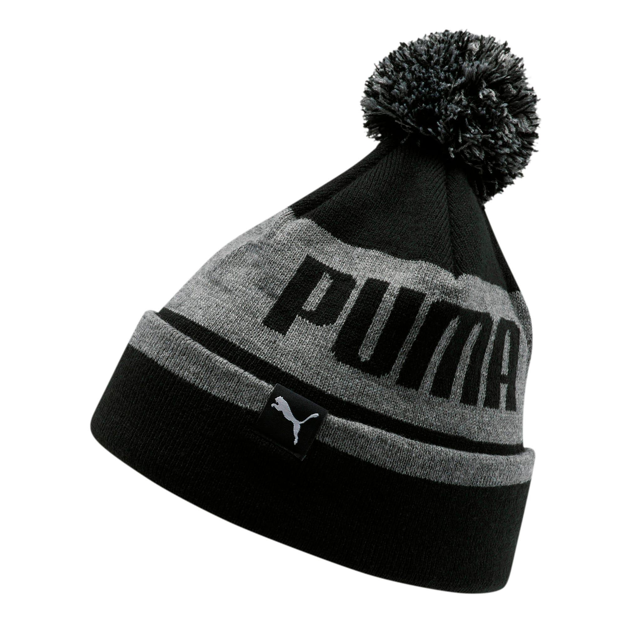 Thumbnail 1 of PUMA Block Cuff Pom Men's Beanie, Grey/Black, medium